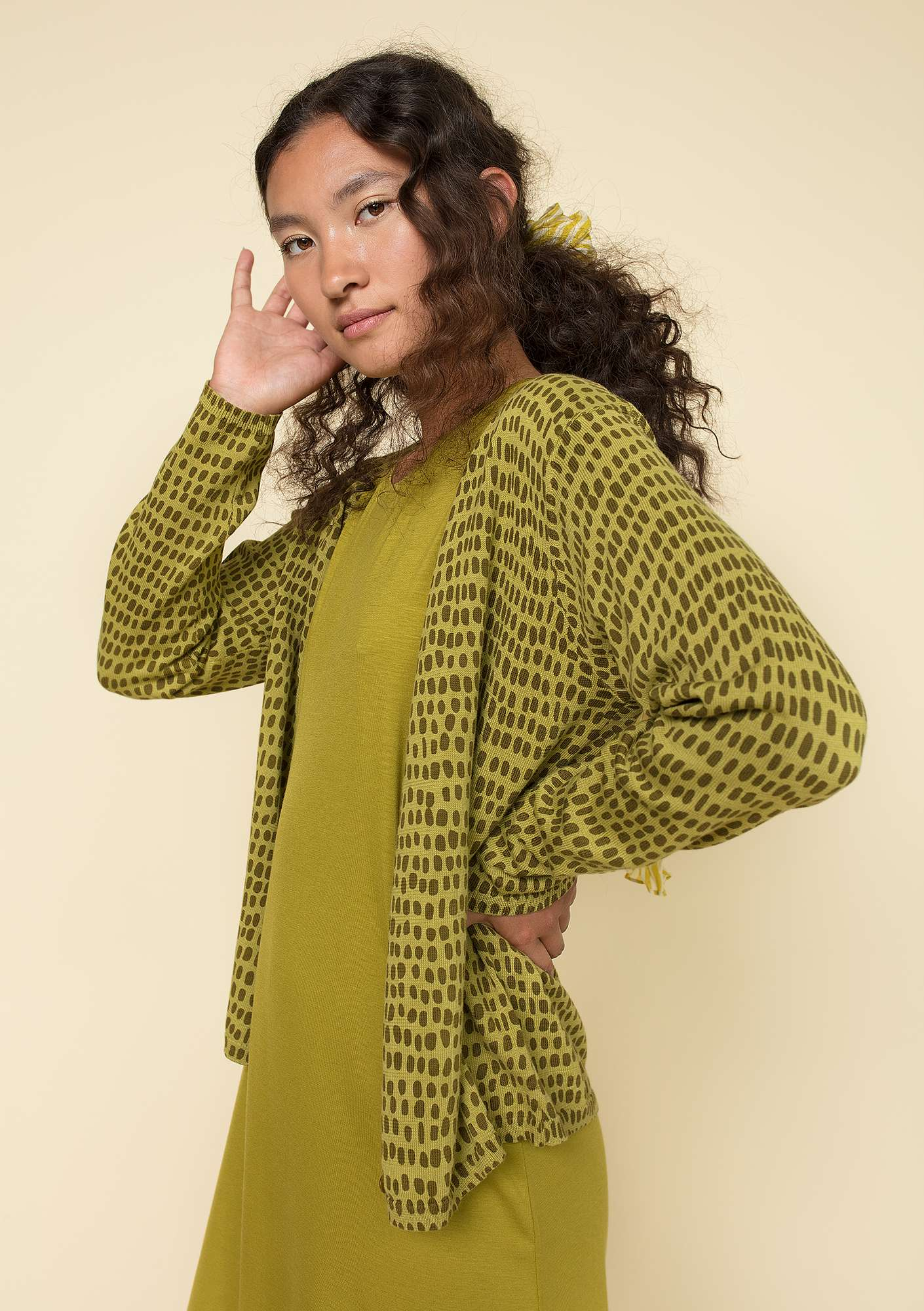 """Ninna"" cardigan in eco-cotton guava"
