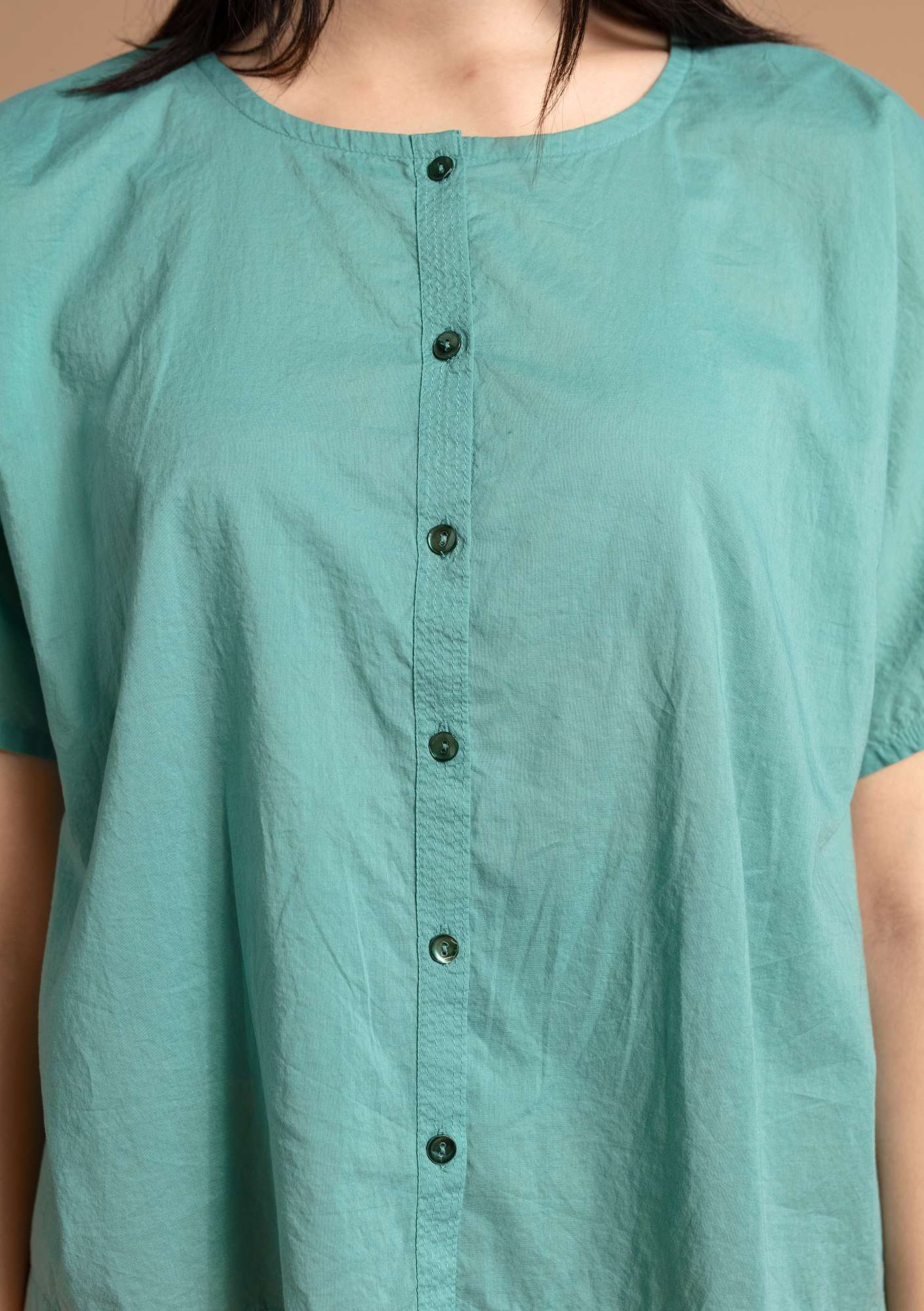 """Rigmor"" blouse in eco-cotton artemisia"