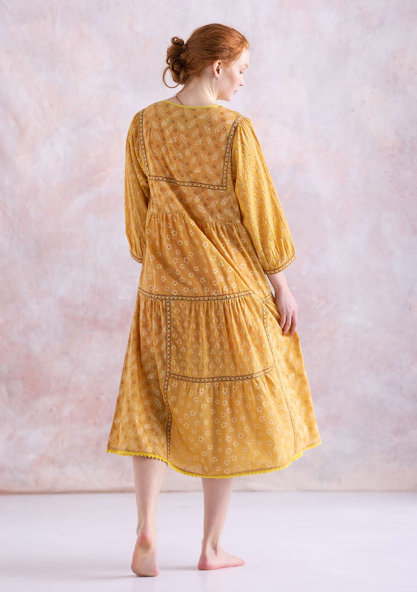 """Soho"" dress in organic cotton light ochre"