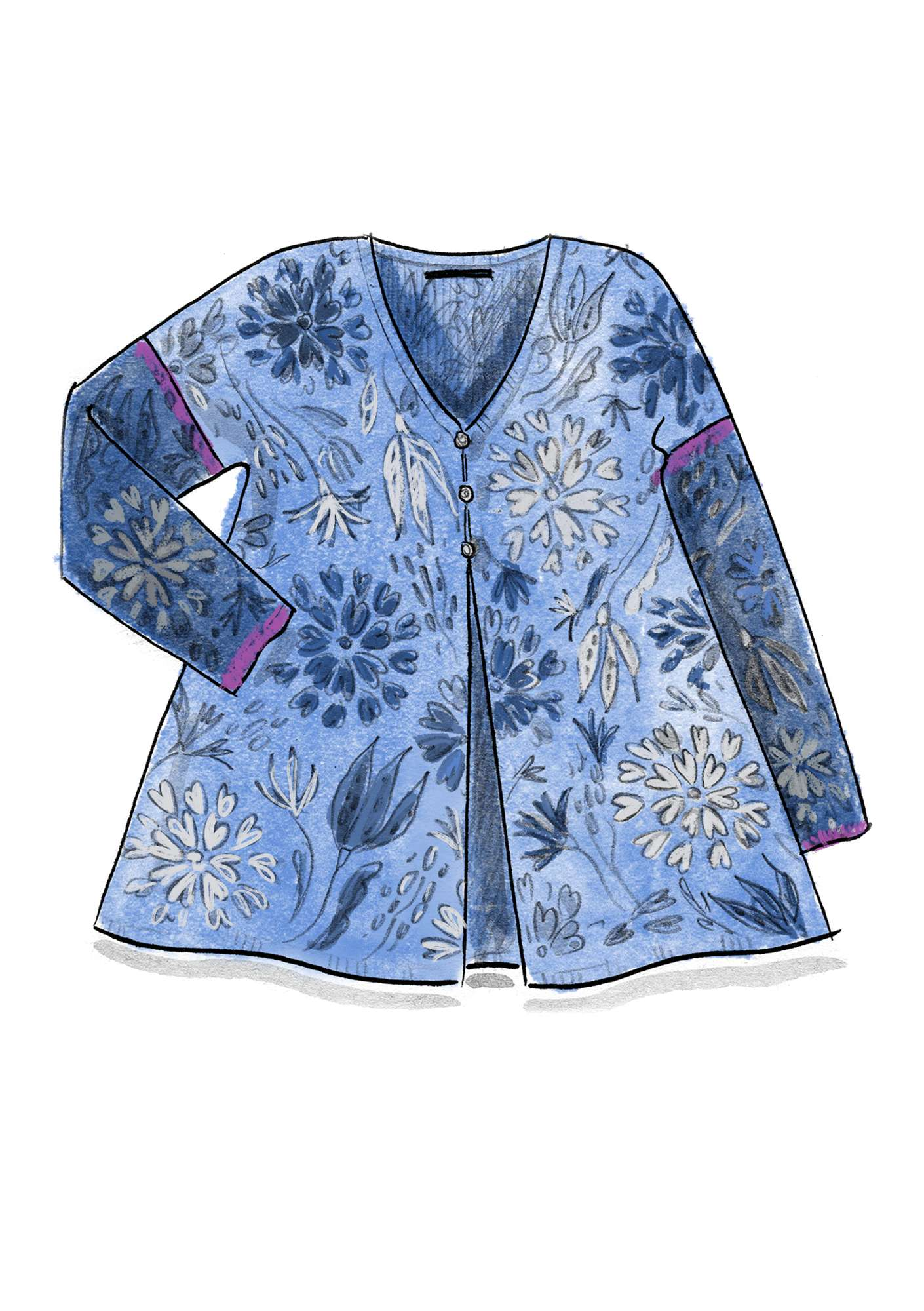 "Printed ""Oas"" cardigan in eco-cotton cornflower"