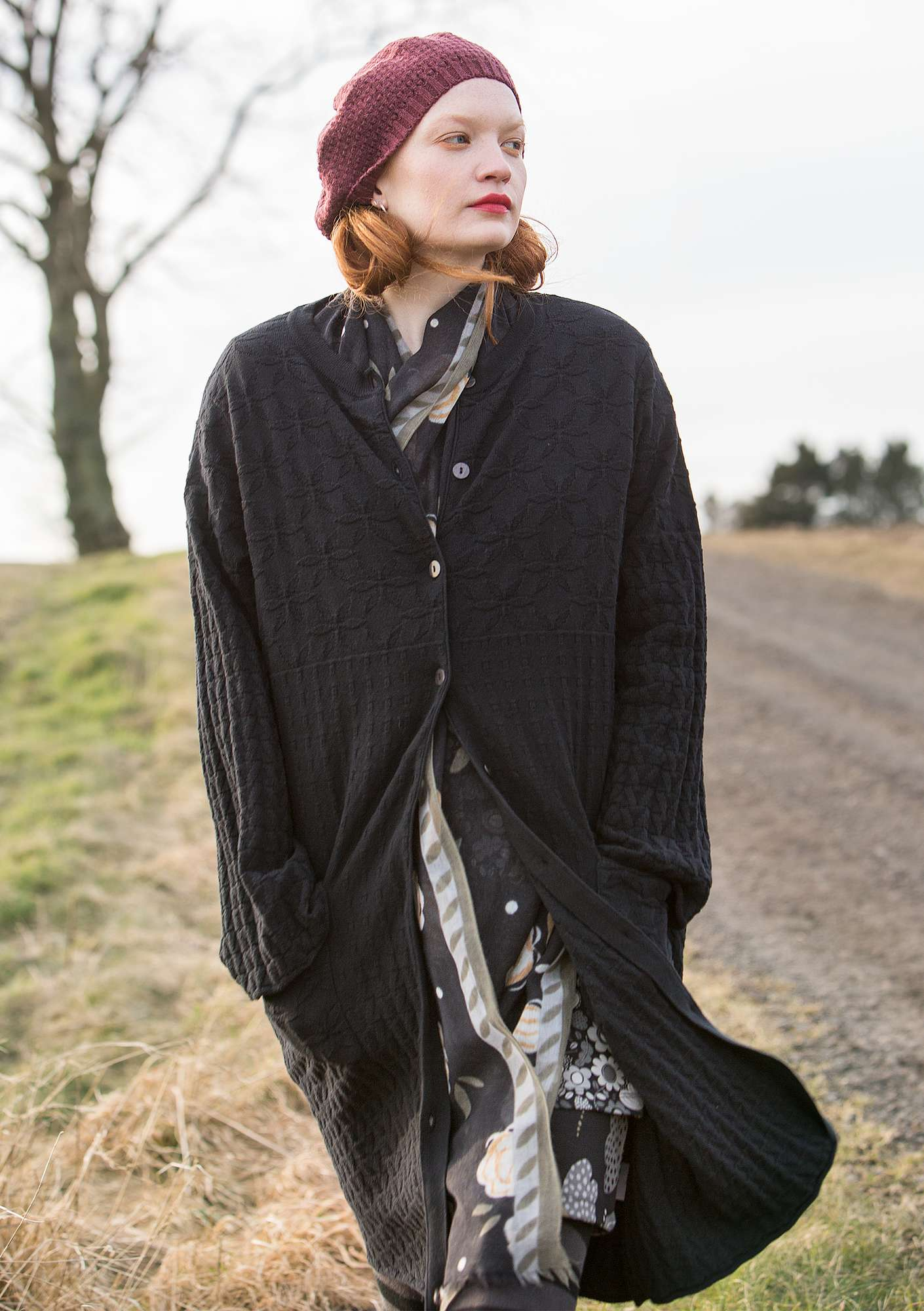 """Kristall"" long cardigan in recycled cotton black"
