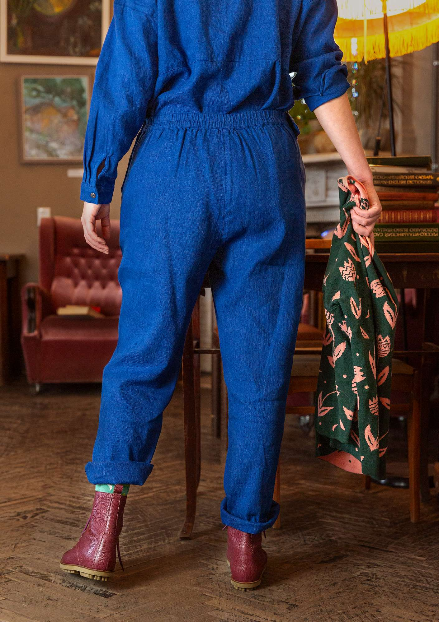 Organic cotton/linen trousers porcelain blue