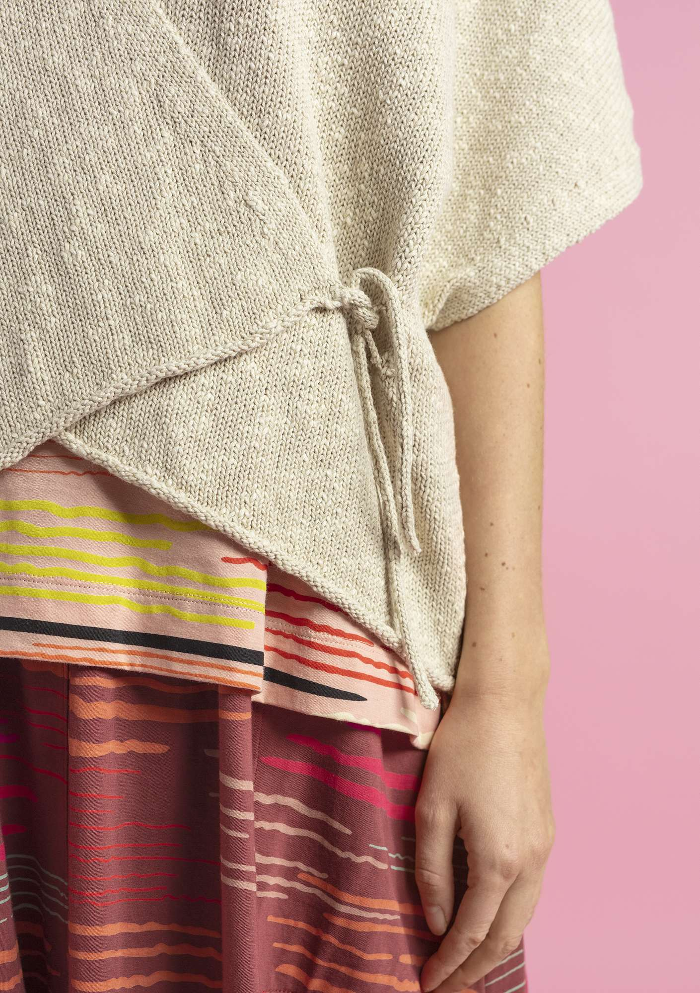 Wrap cardigan in eco-cotton/eco-linen eggshell