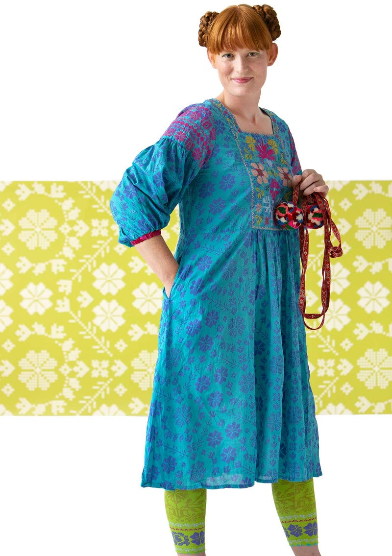 """Liiva"" woven dress in organic cotton turquoise"