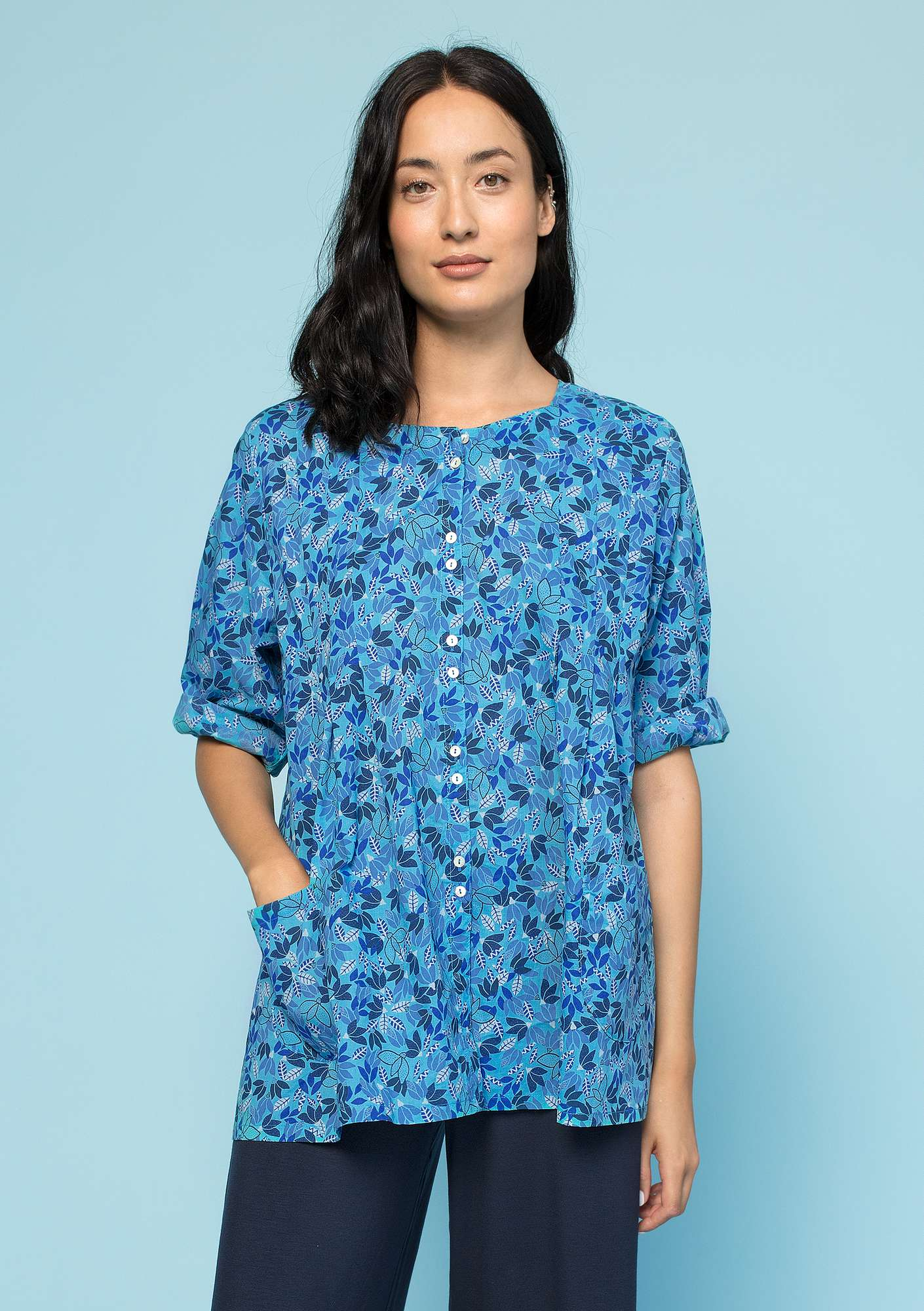 """Minerva"" blouse in organic cotton turquoise"
