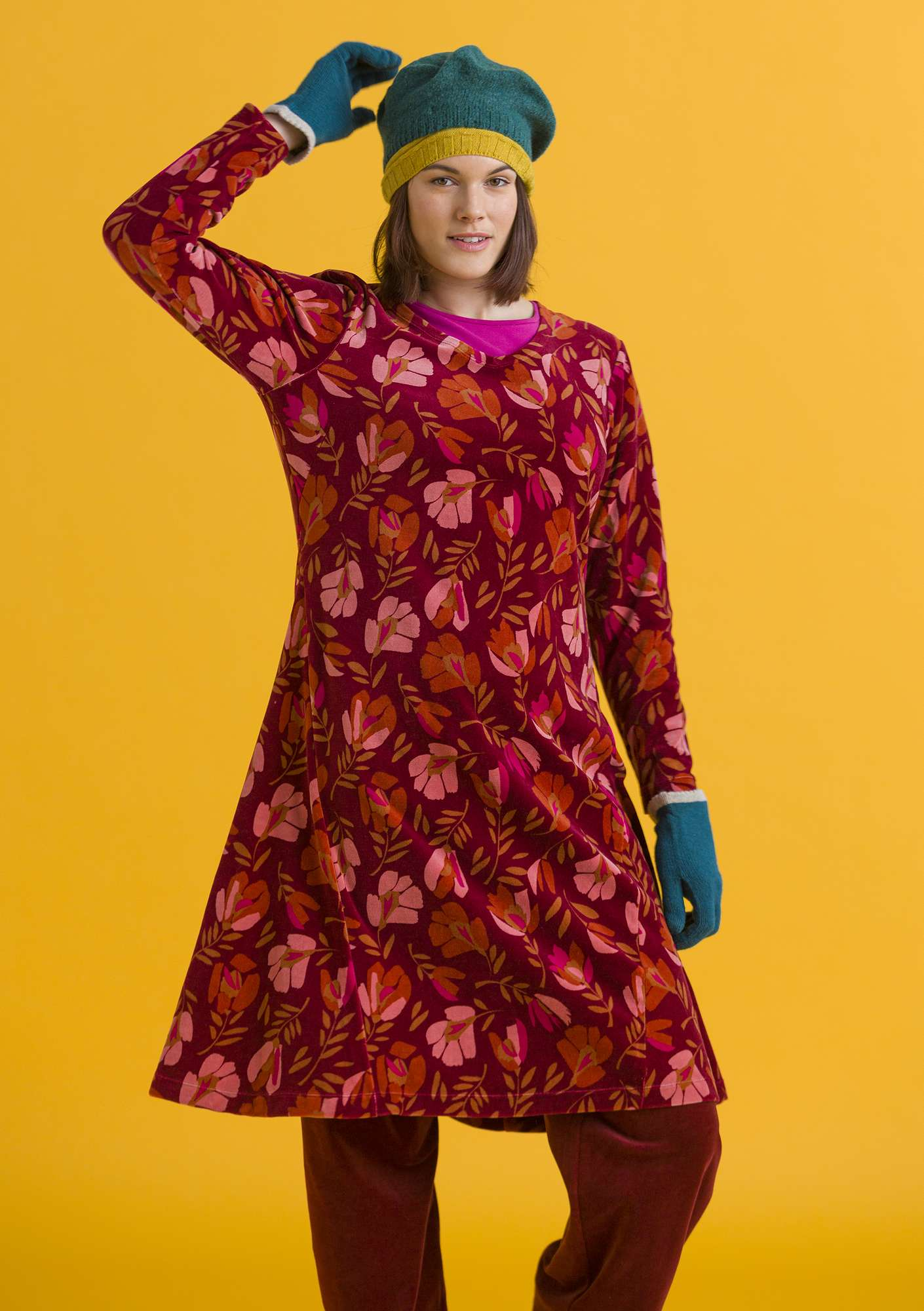 """Vurma"" velour dress in organic cotton/polyester henna/patterned"