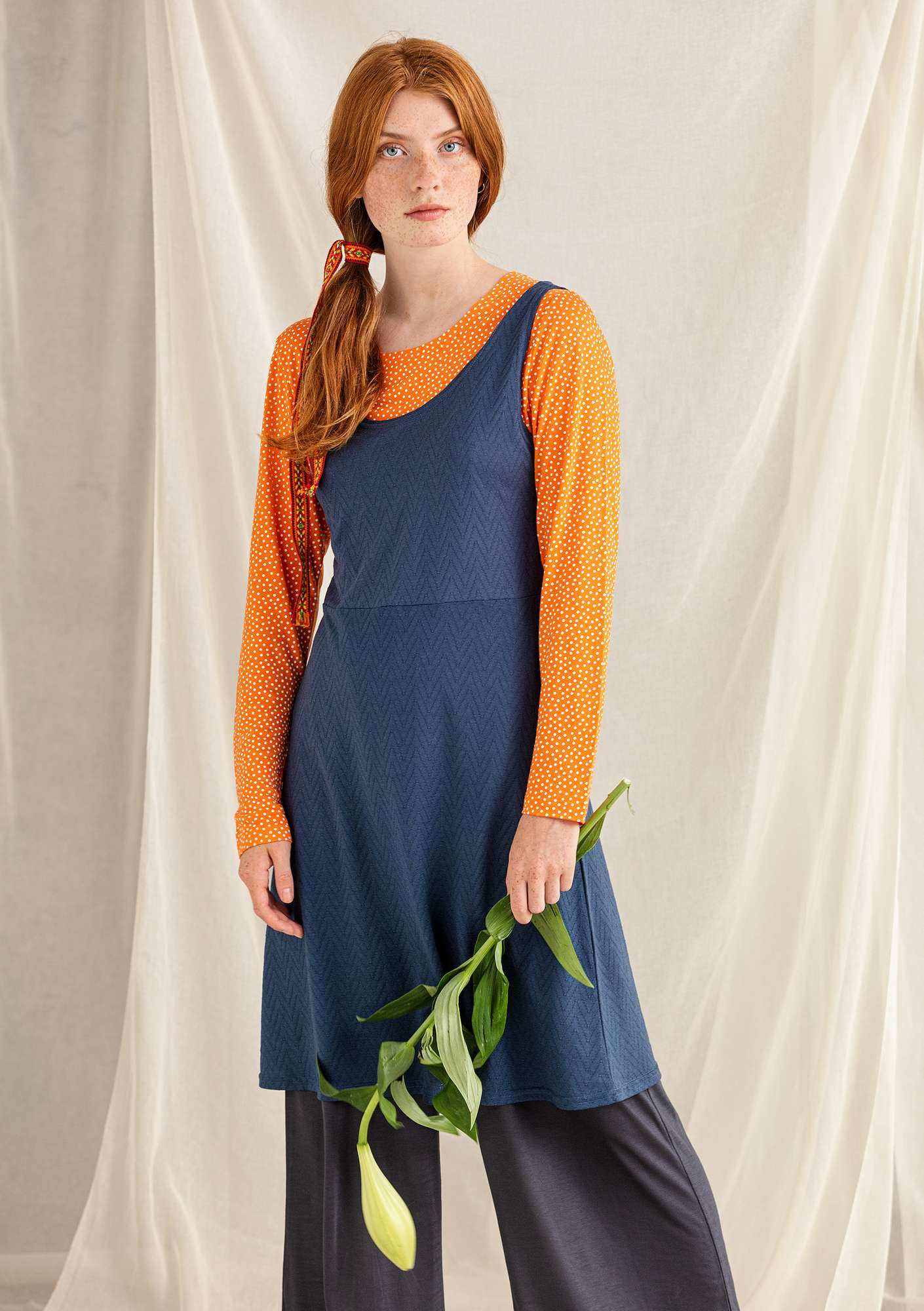 Pointelle dress indigo