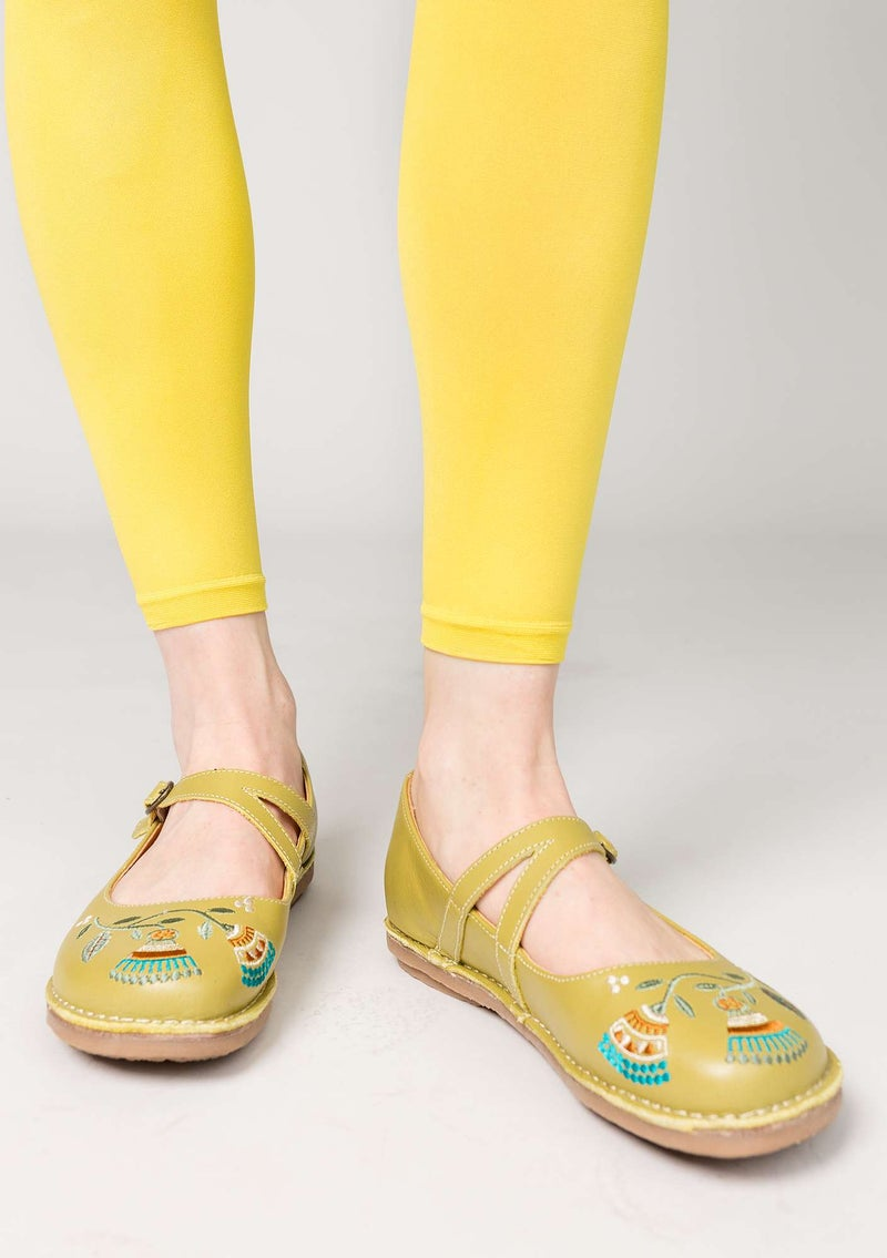"""Artemis"" nappa strap shoes meadow green"