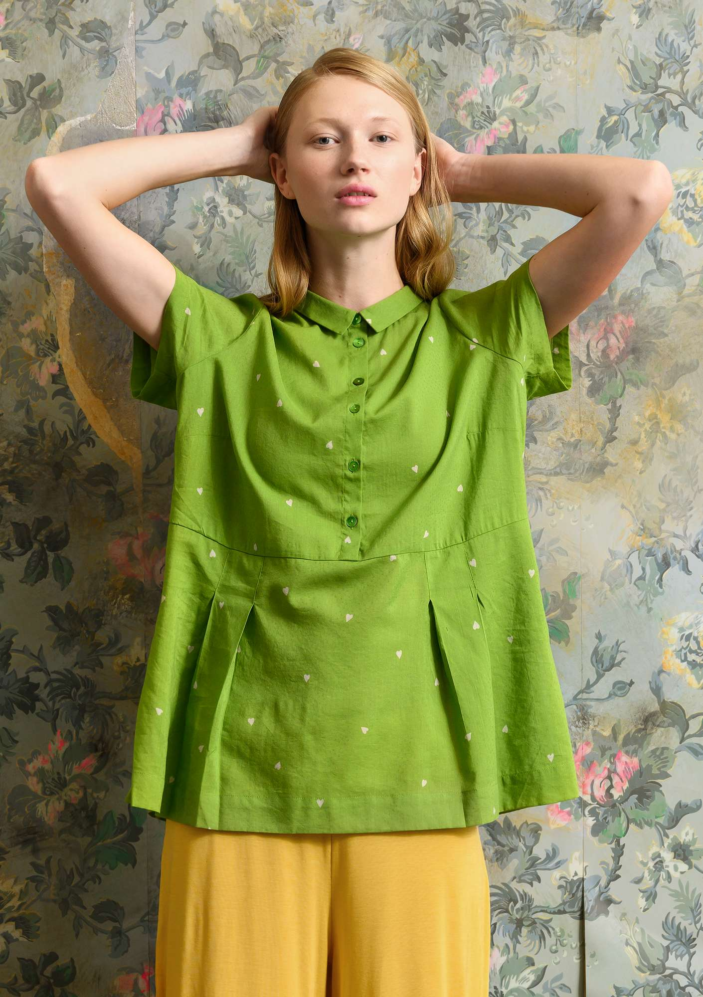 """Heart"" blouse in organic cotton/modal cactus"