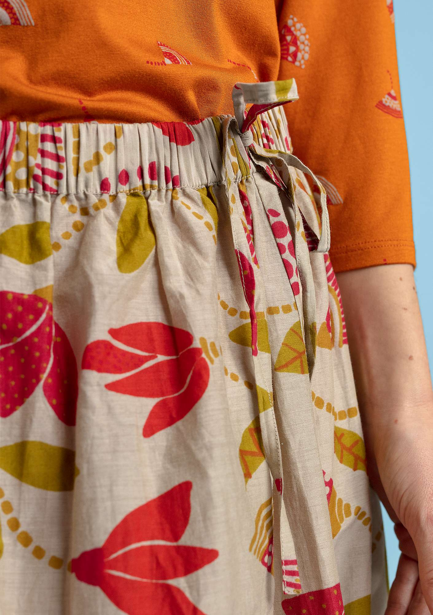 """Artemis"" skirt in organic cotton/silk cherry"
