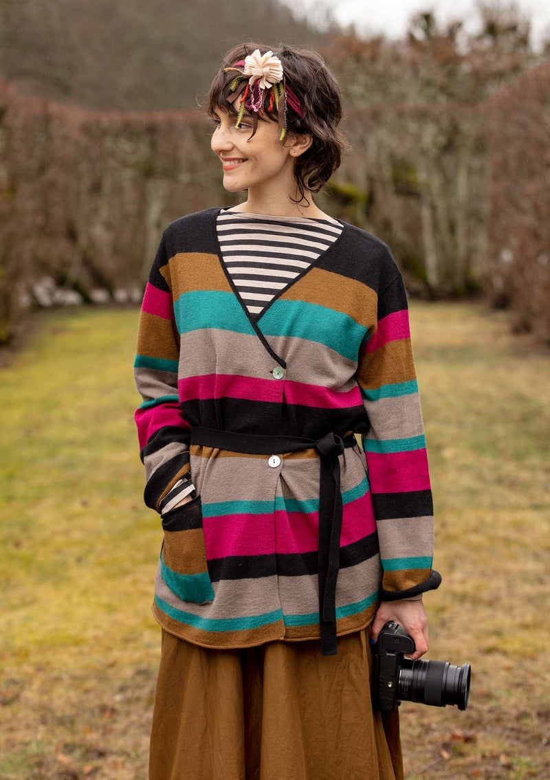 Solid-colour and striped wraparound cardigan crafted from felted wool patterned/black