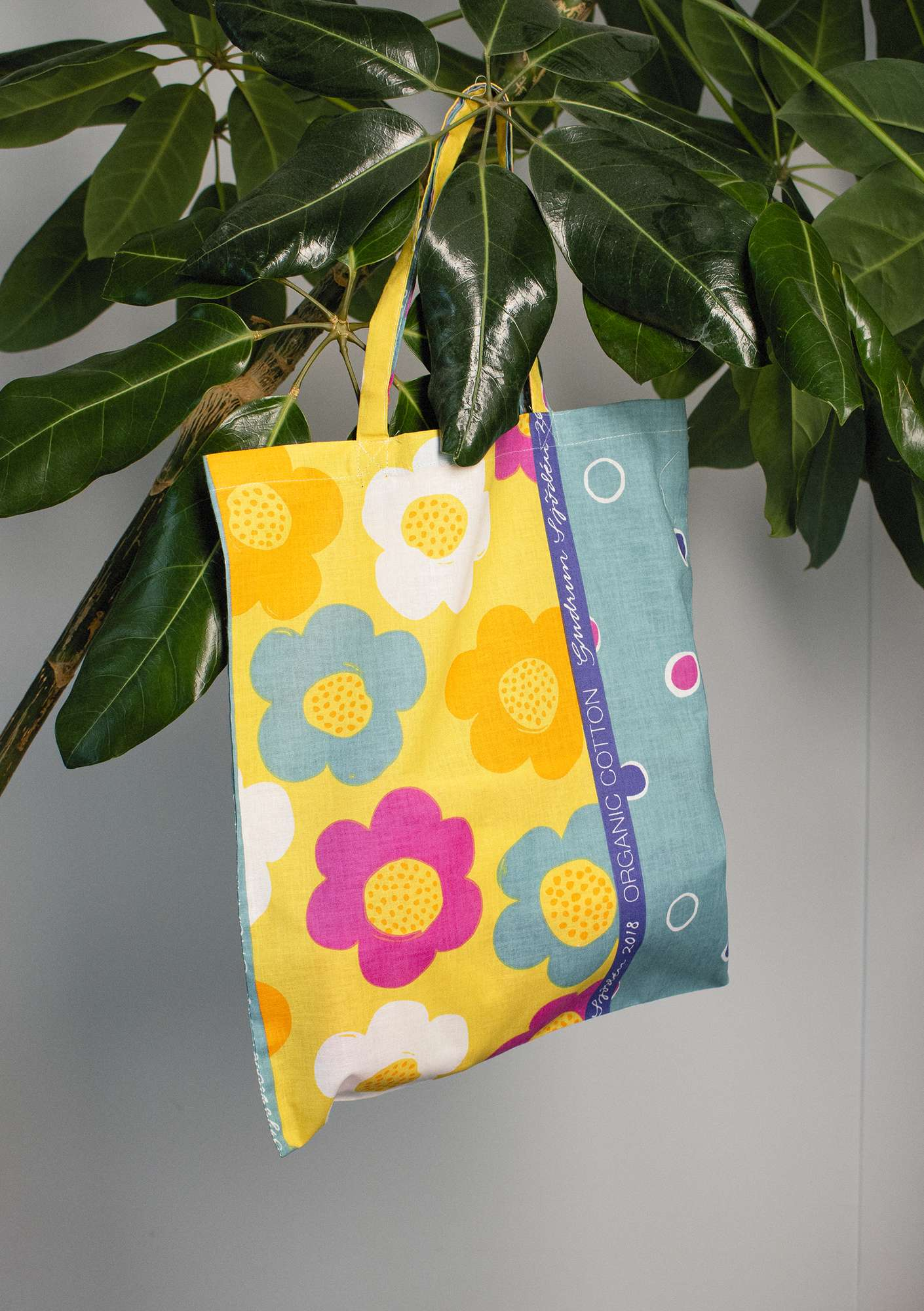 Fabric tote bag M patterned