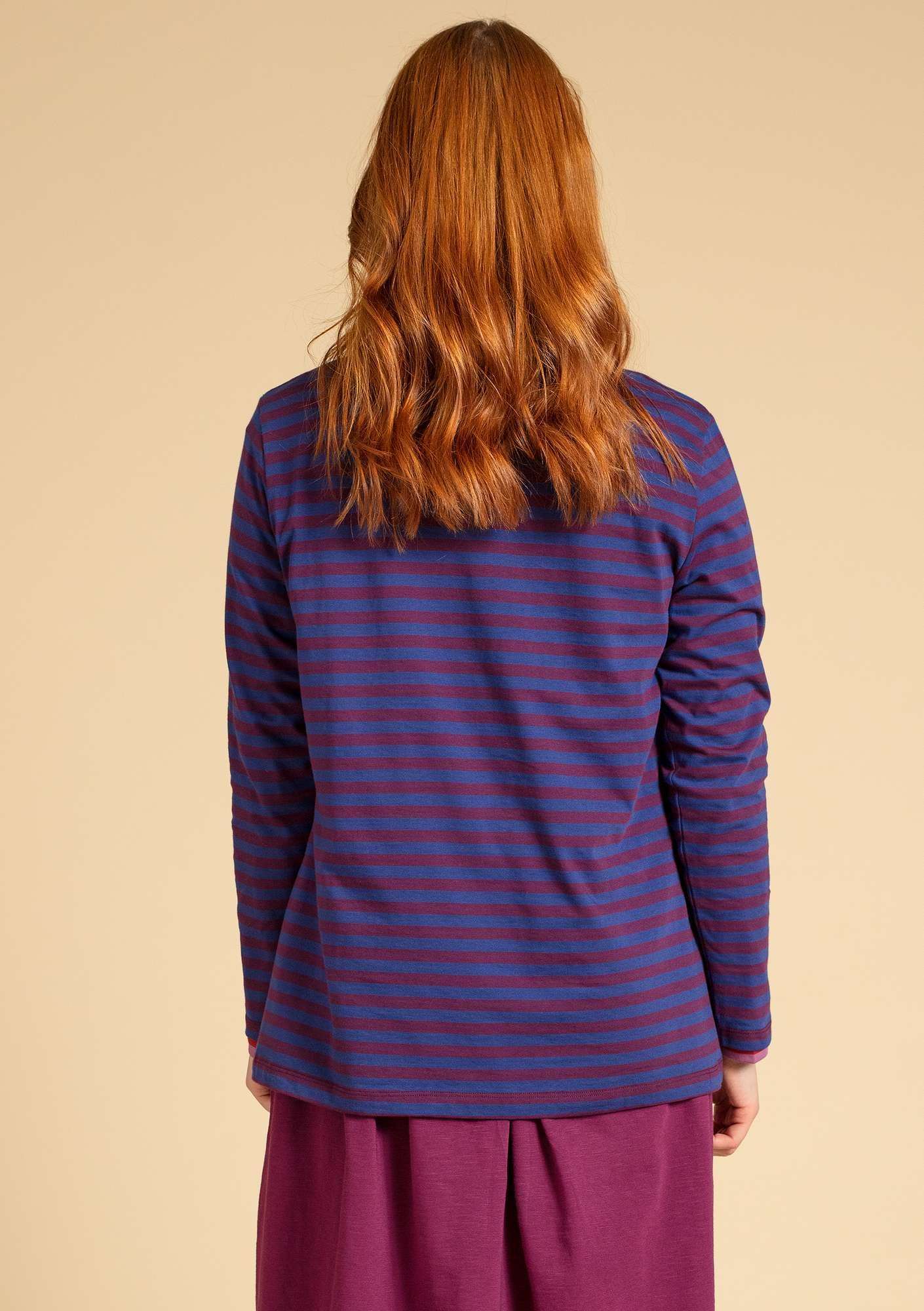 Basic striped shirt in organic cotton violet/allium