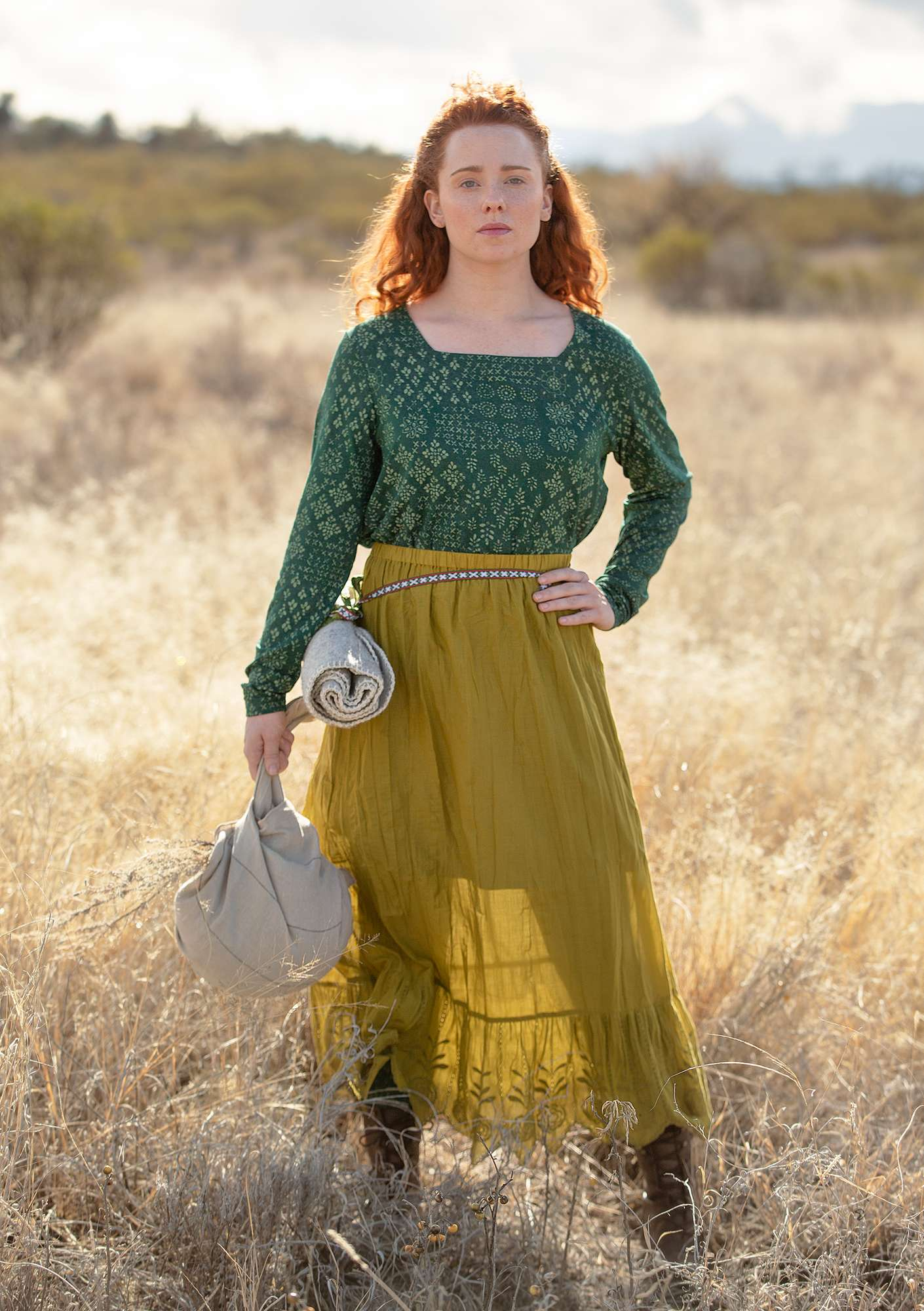 Petticoat in organic cotton meadow green