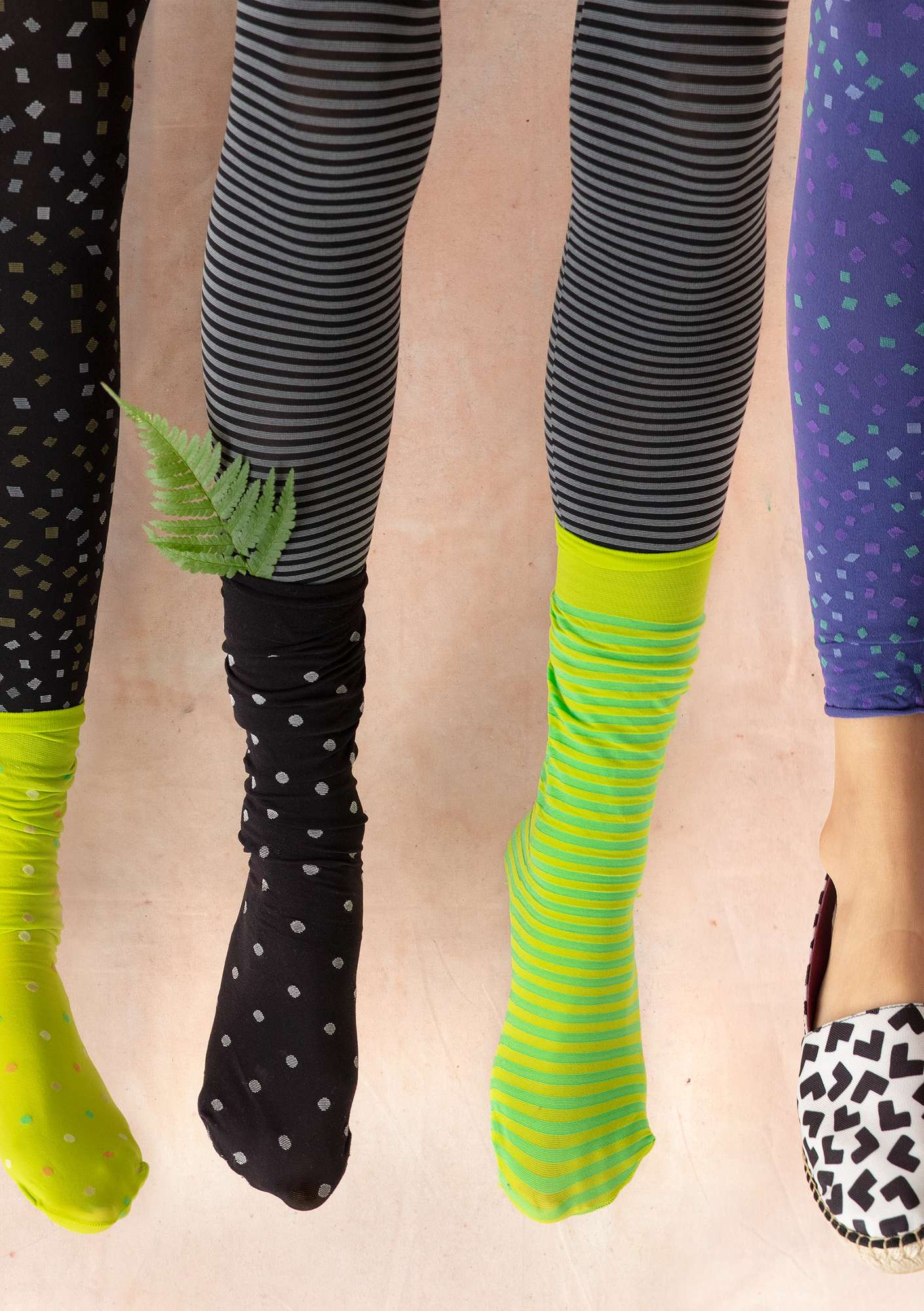 Striped leggings in recycled polyamide black/grey