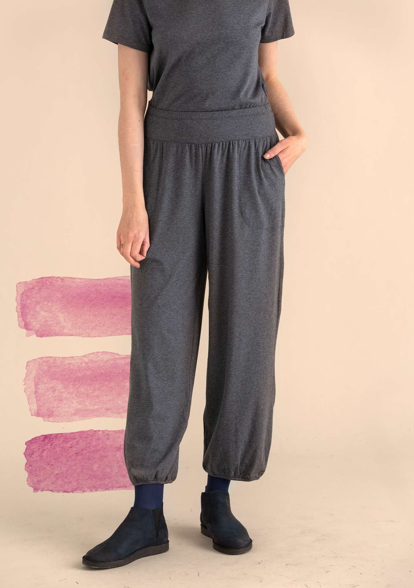 Trousers in organic cotton/elastane grey melange