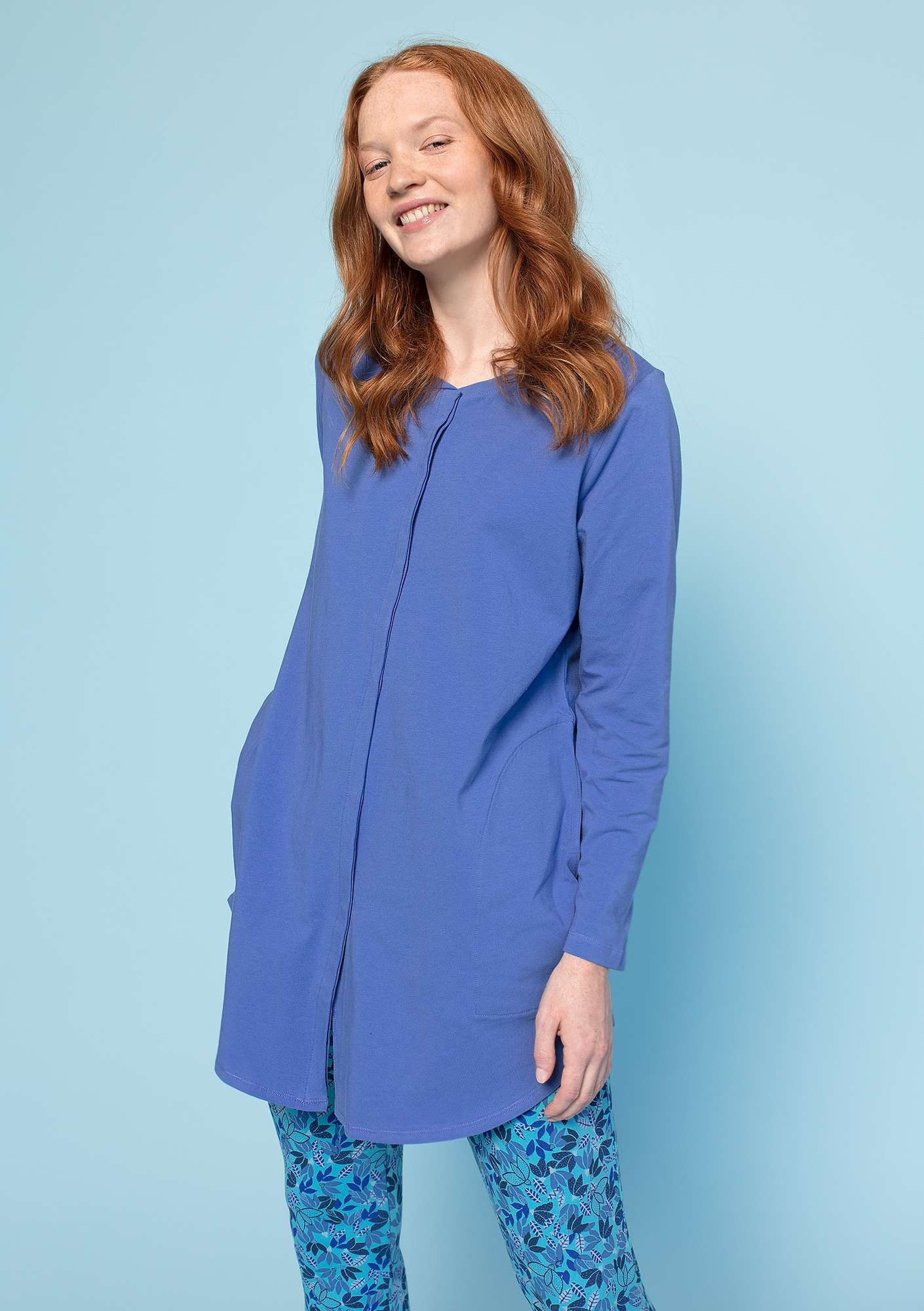 Jersey shirt in eco-cotton/spandex sky blue