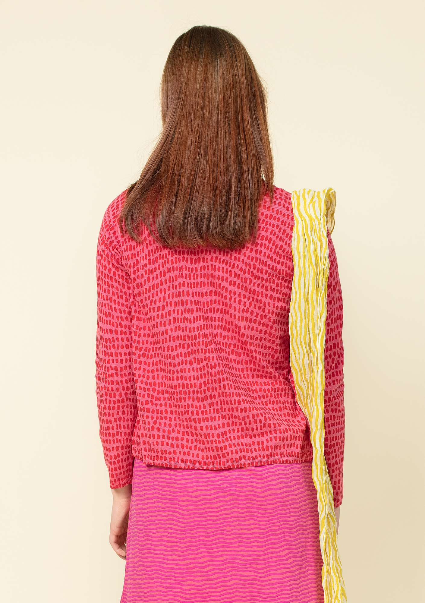 """Ninna"" cardigan in eco-cotton raspberry"