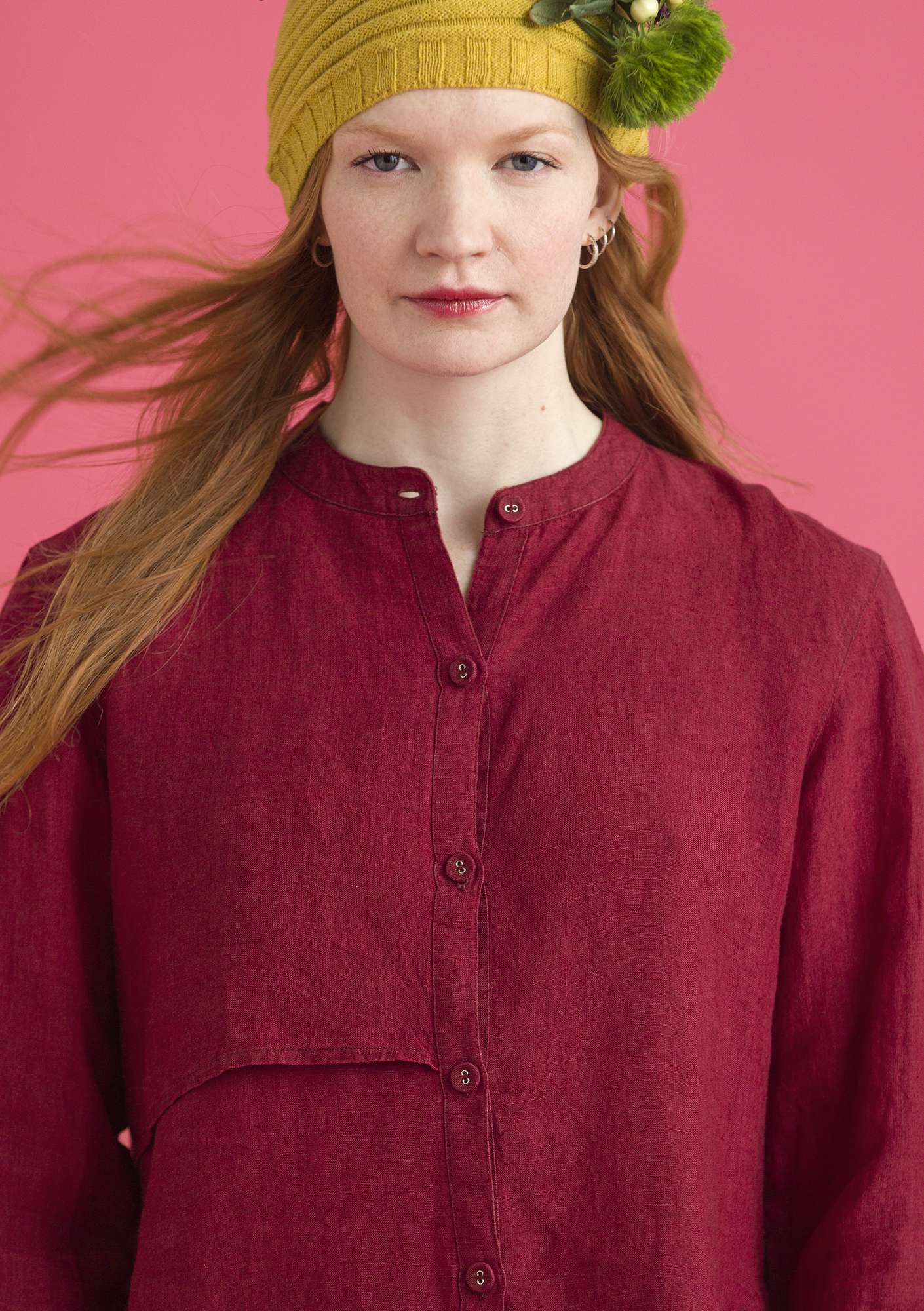 """Sia"" linen shirt pomegranate"