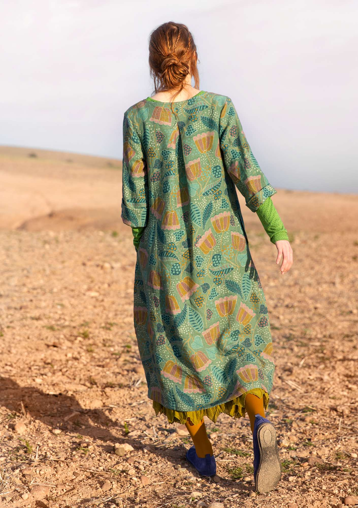 """Belle"" linen dress sea green"