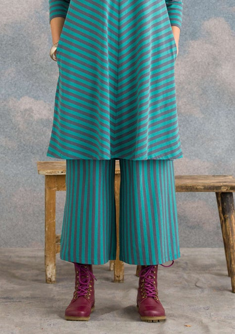 Striped pants aqua green/agave