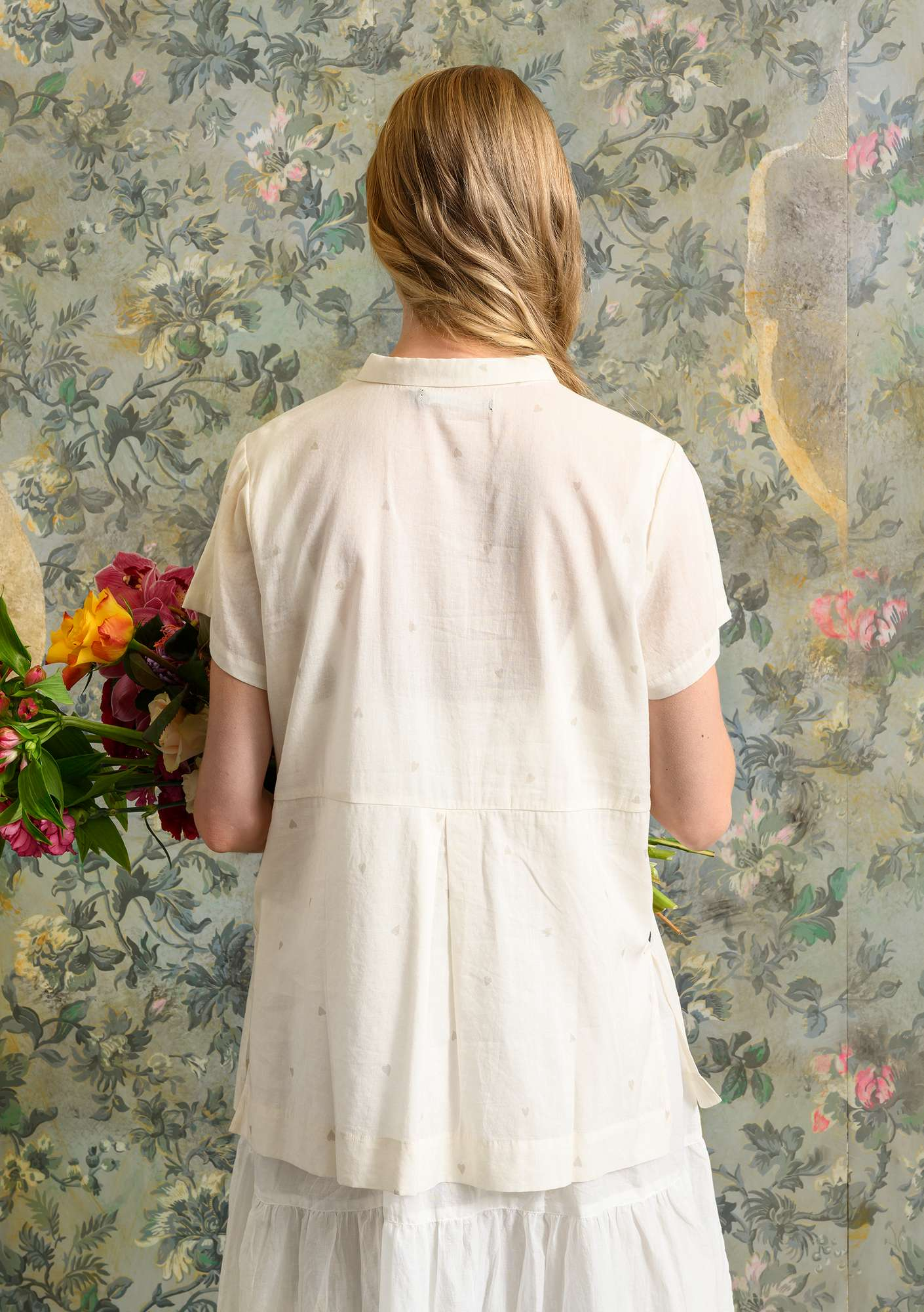 """Heart"" blouse in organic cotton/modal unbleached"