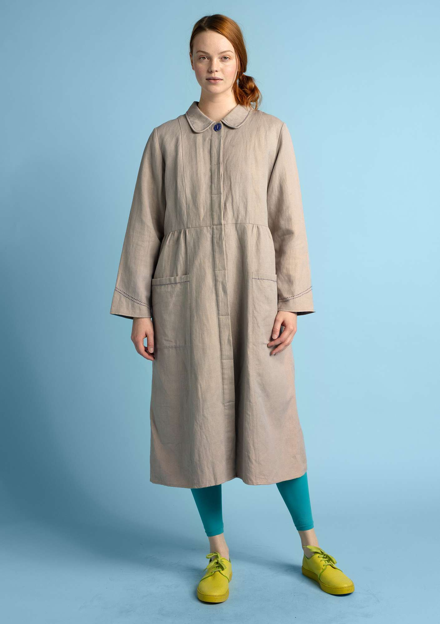"""Pinje"" coat in linen/organic cotton dark natural"
