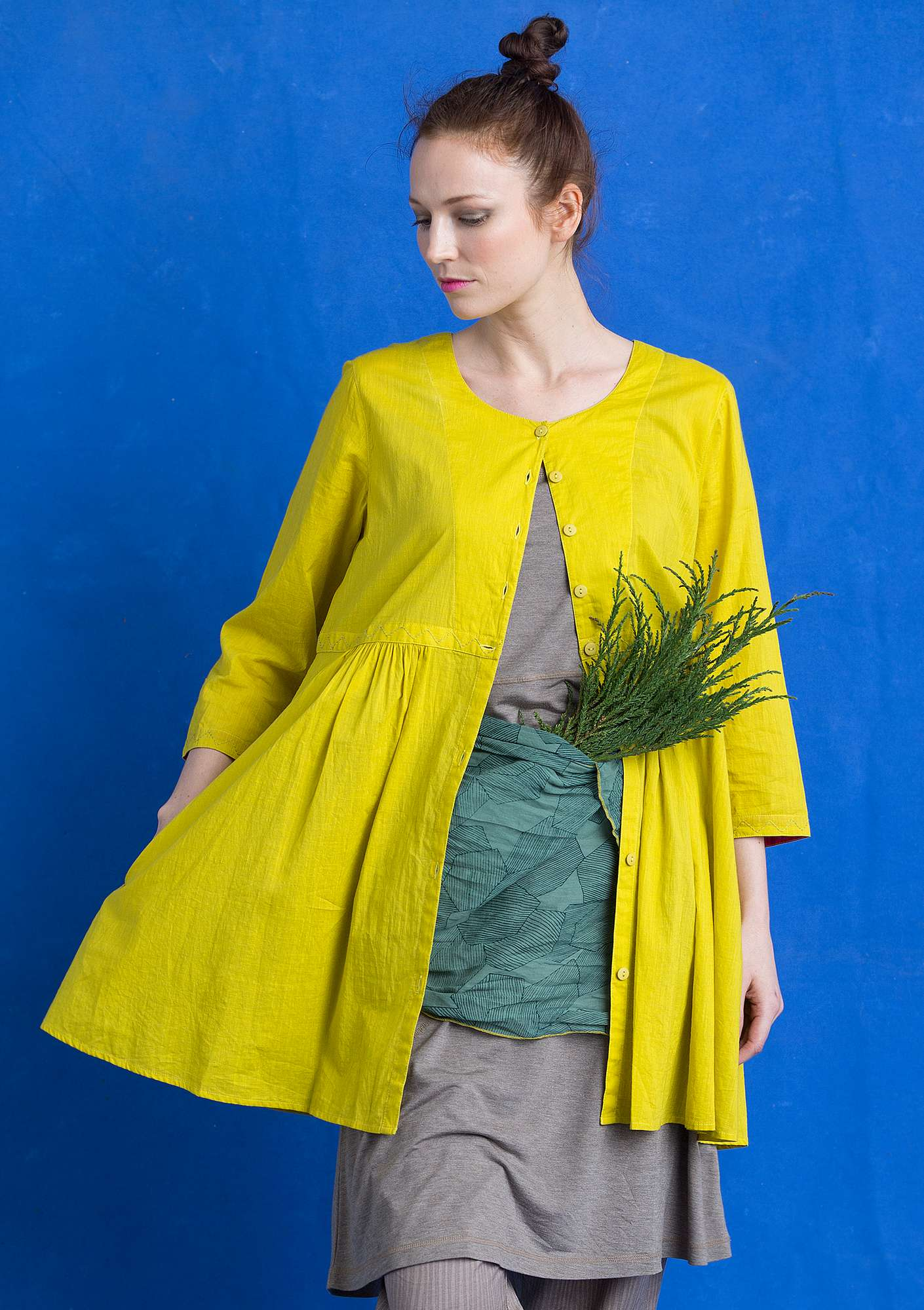 Tunic in eco-cotton lime