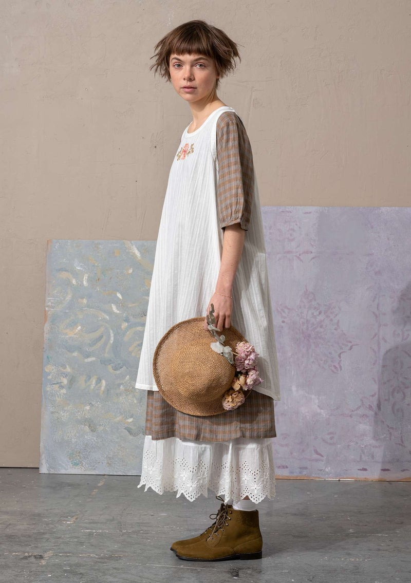"""Fille"" woven tunic in organic cotton light ecru"