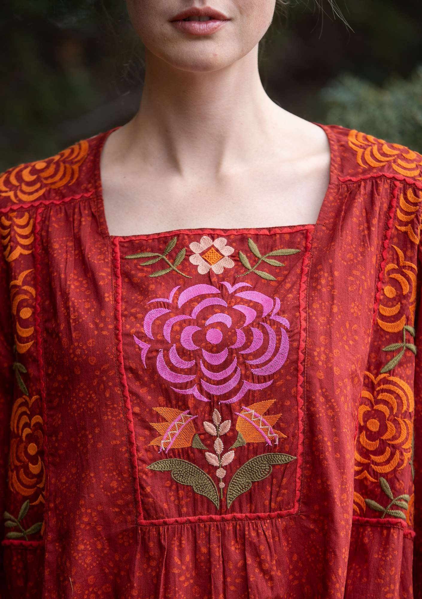 """Kristina"" dress in organic cotton pomegranate"
