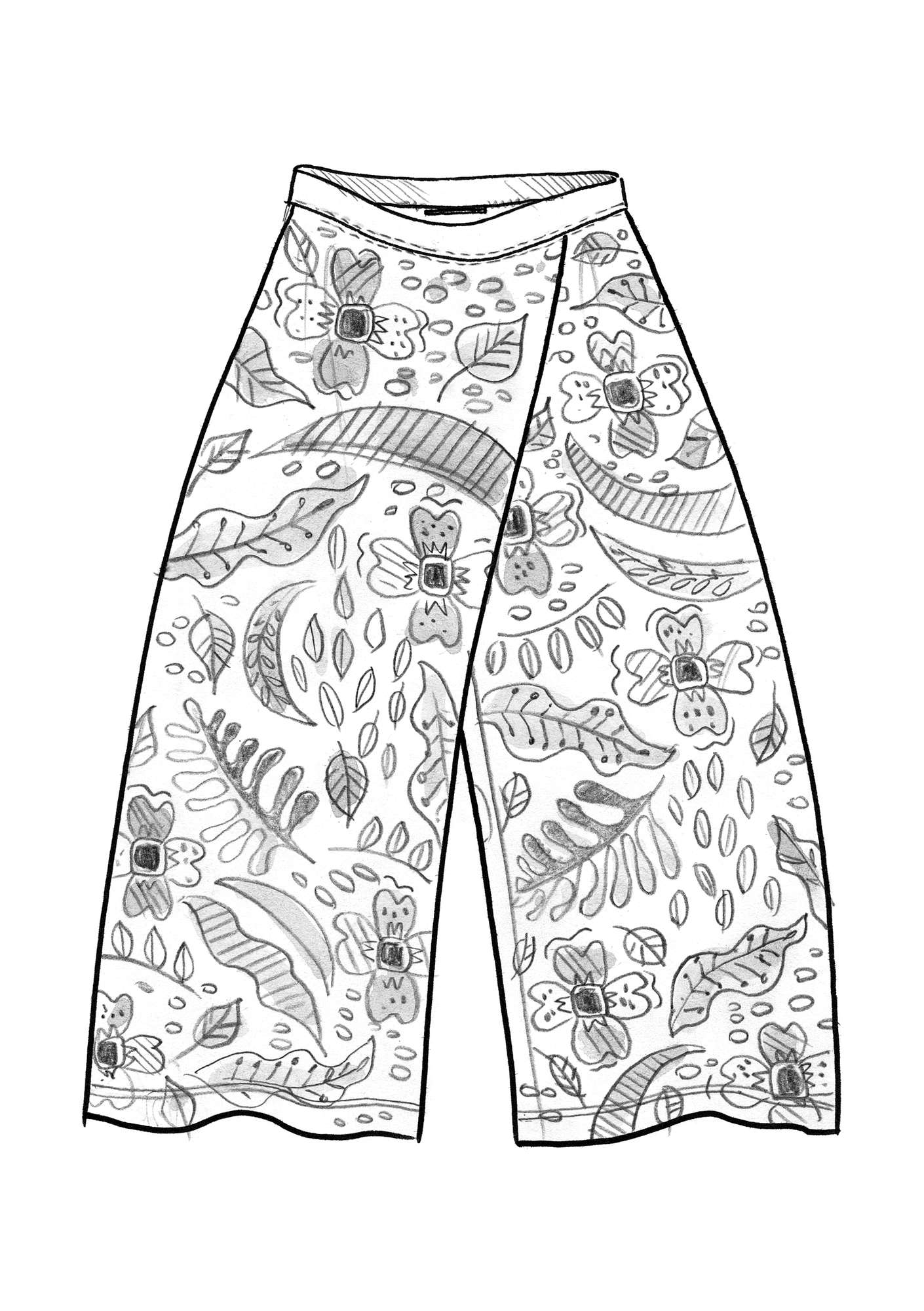 """Paradise"" pants in lyocell/spandex agave/patterned"