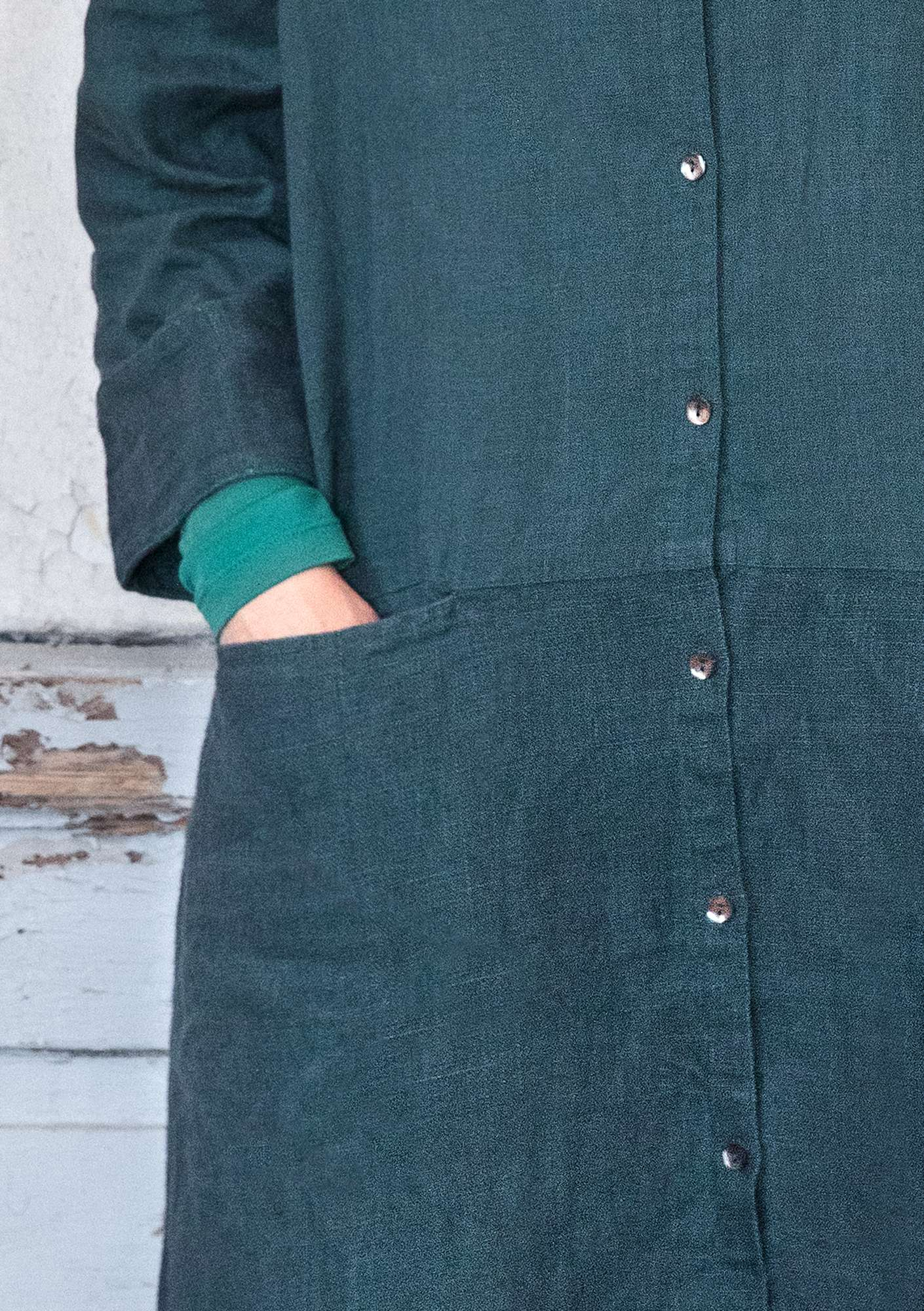Linen long shirt carbon