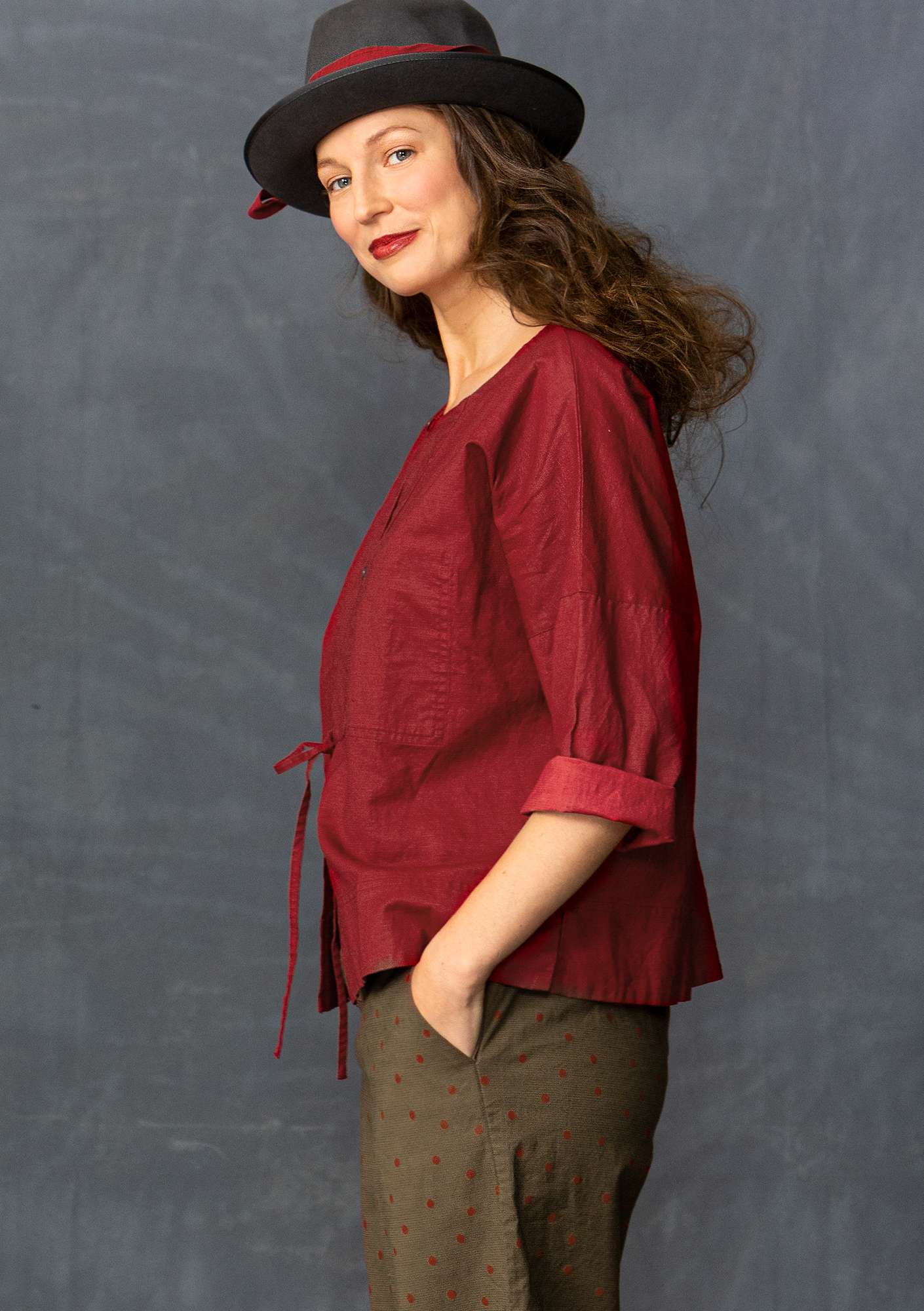 Linen/cotton blouse-style jacket pomegranate