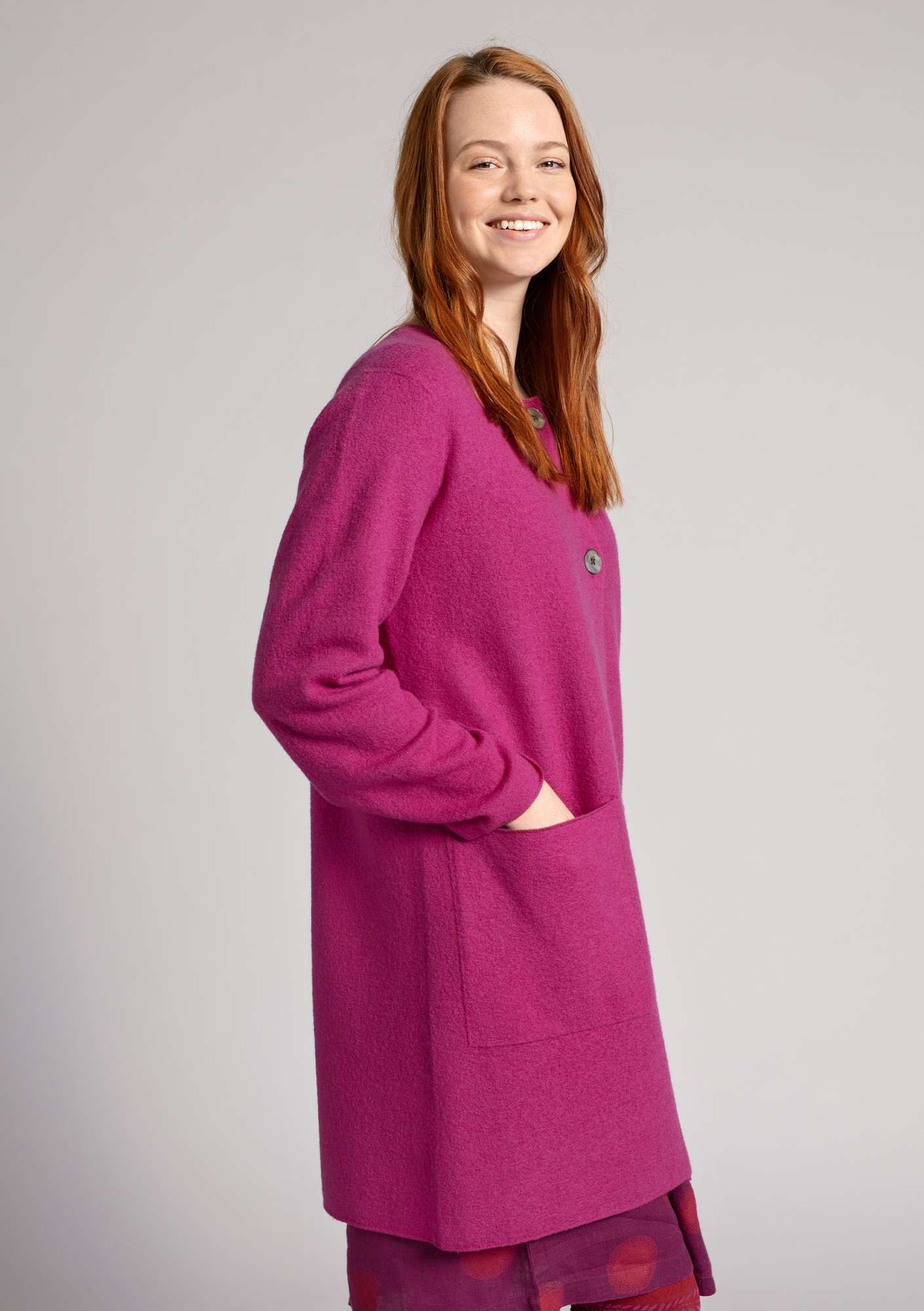 Long cardigan in felted wool pink orchid