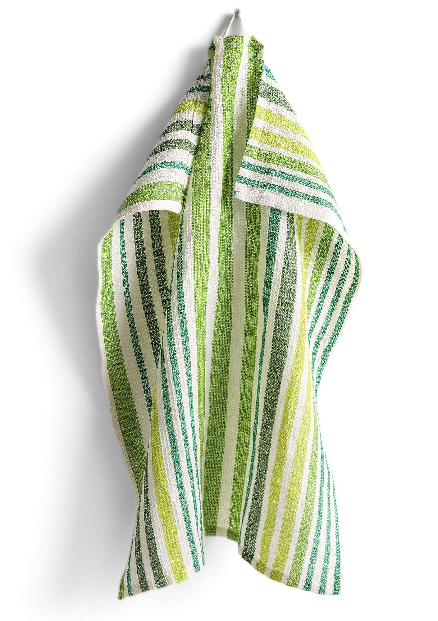 Striped Cotton & Linen Blend Kitchen Towel dark emerald