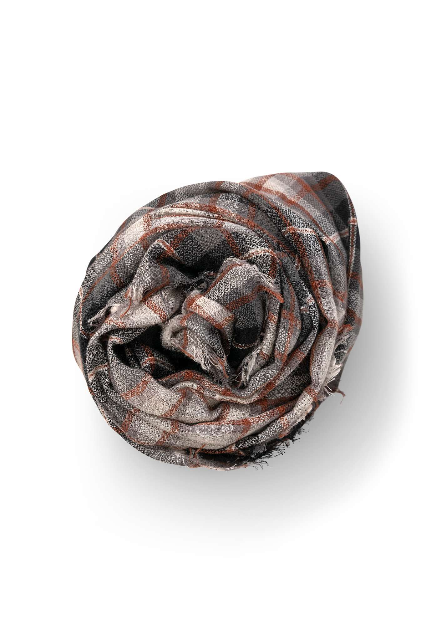 Check wool shawl black