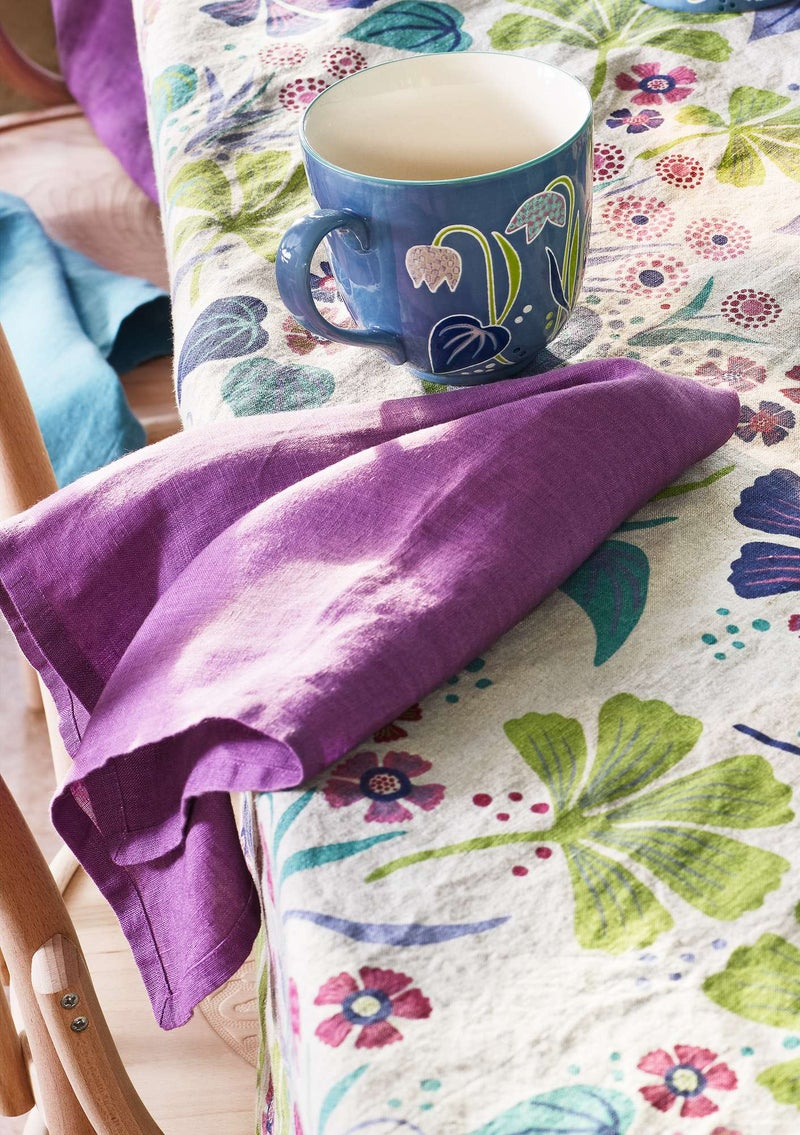 Washed linen cloth napkin heather