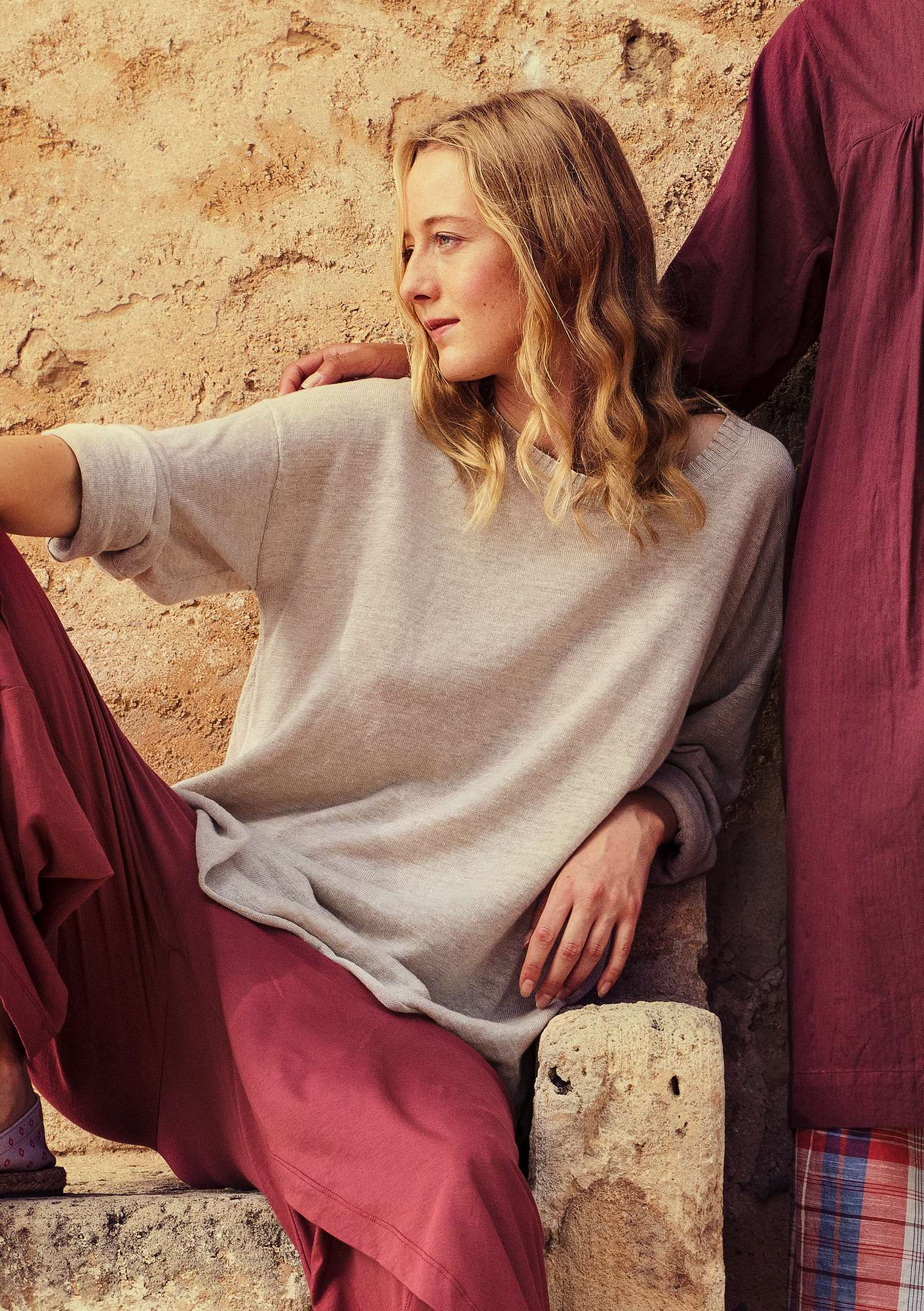 Knit tunic in organic linen natural