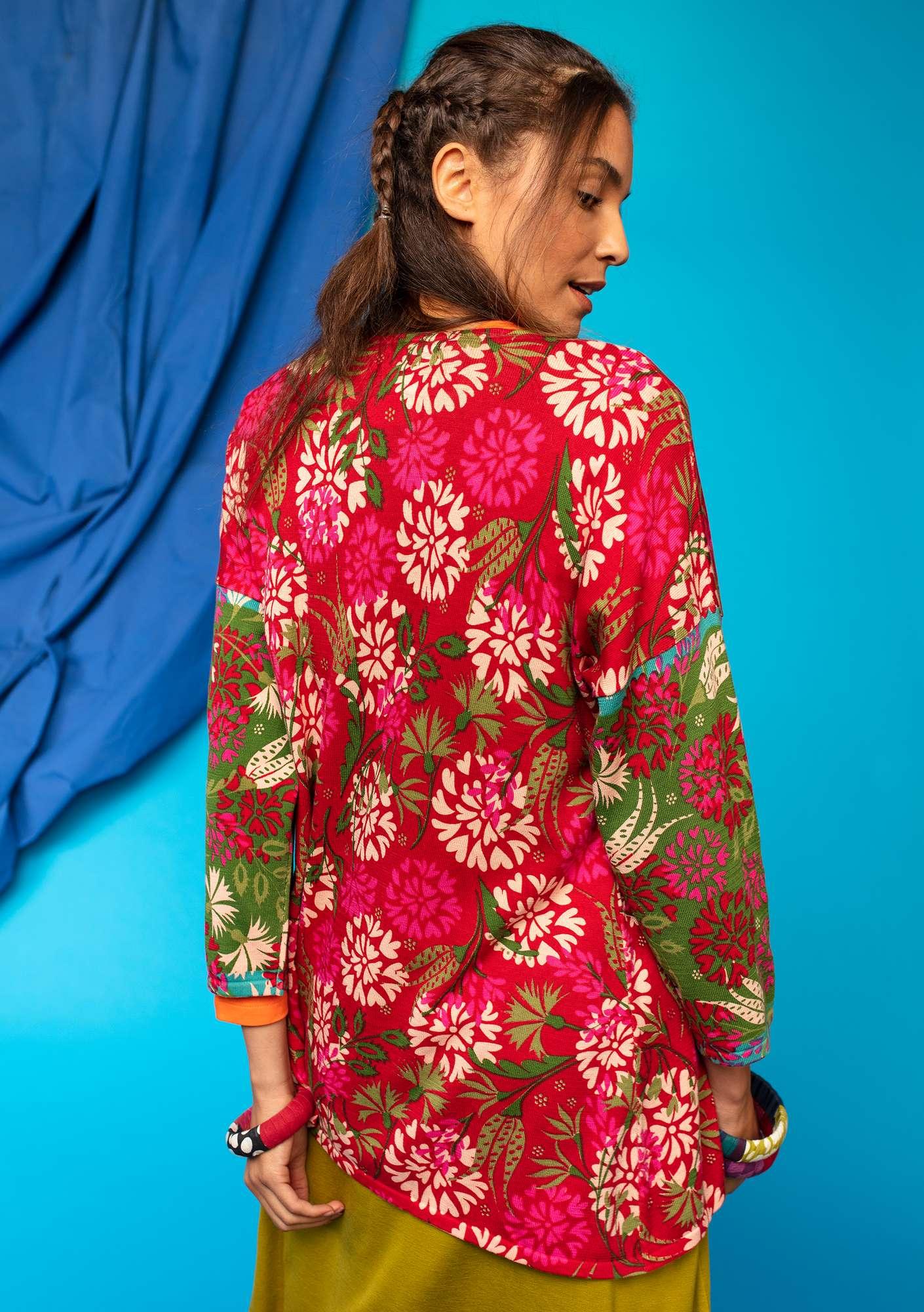 "Printed ""Oas"" cardigan in eco-cotton tomato"