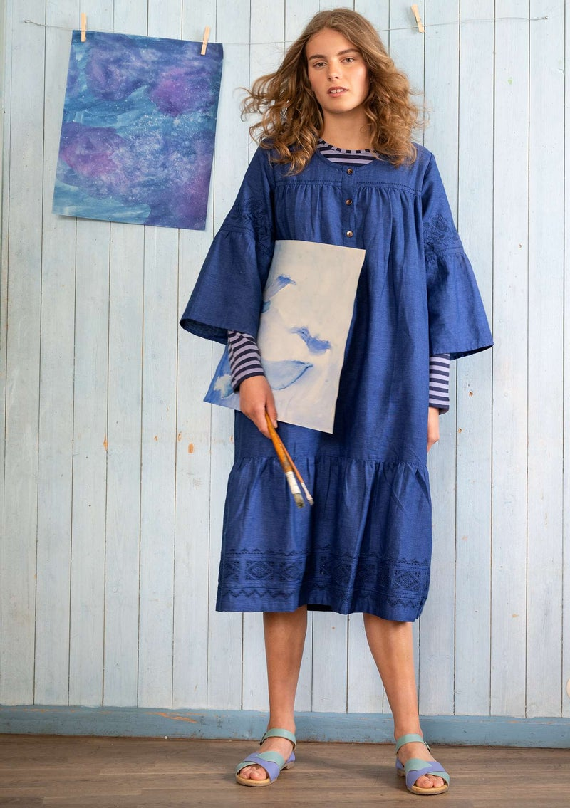"""Majorelle"" organic cotton/linen dress bluebell"