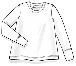 Long-sleeve top in organic cotton/spandex