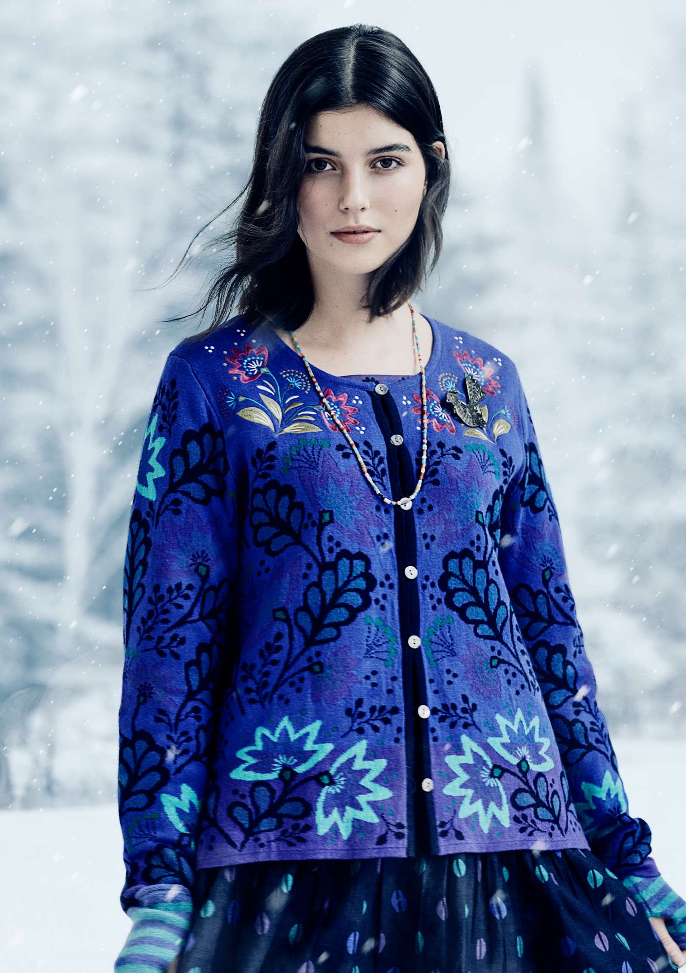 Kranskulla embroidered cardigan cobalt blue