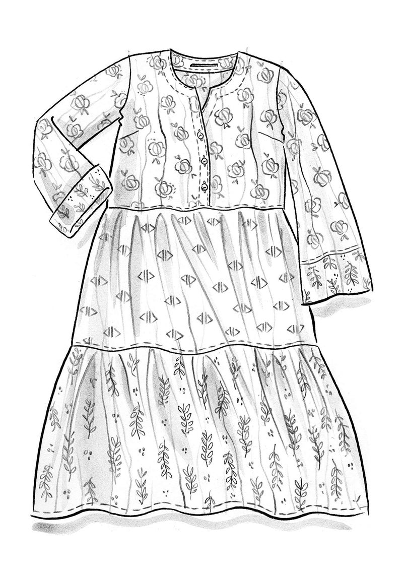 """Pimpinella"" dress in organic cotton mulberry/patterned"