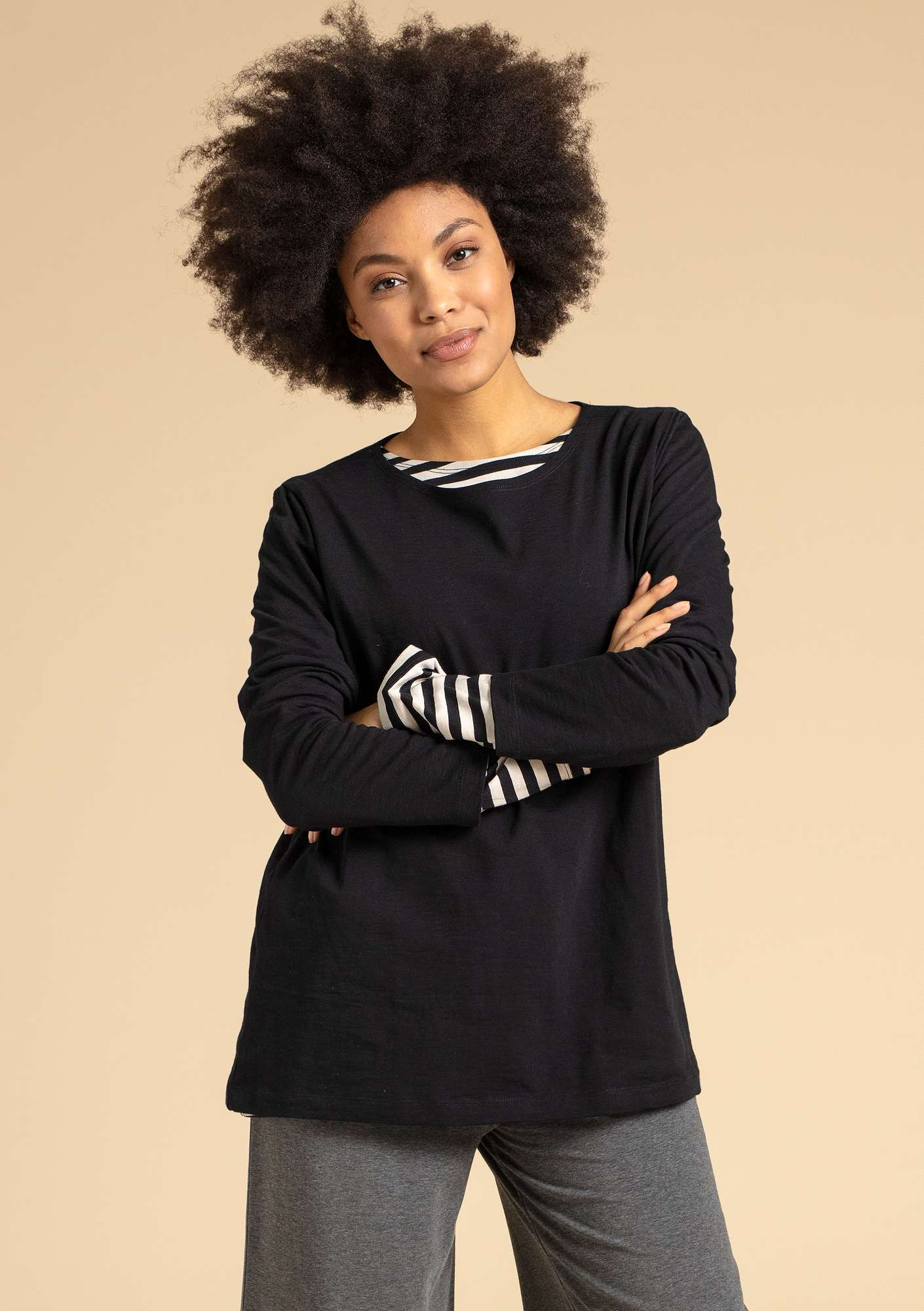 """Livia"" top in eco-cotton black"