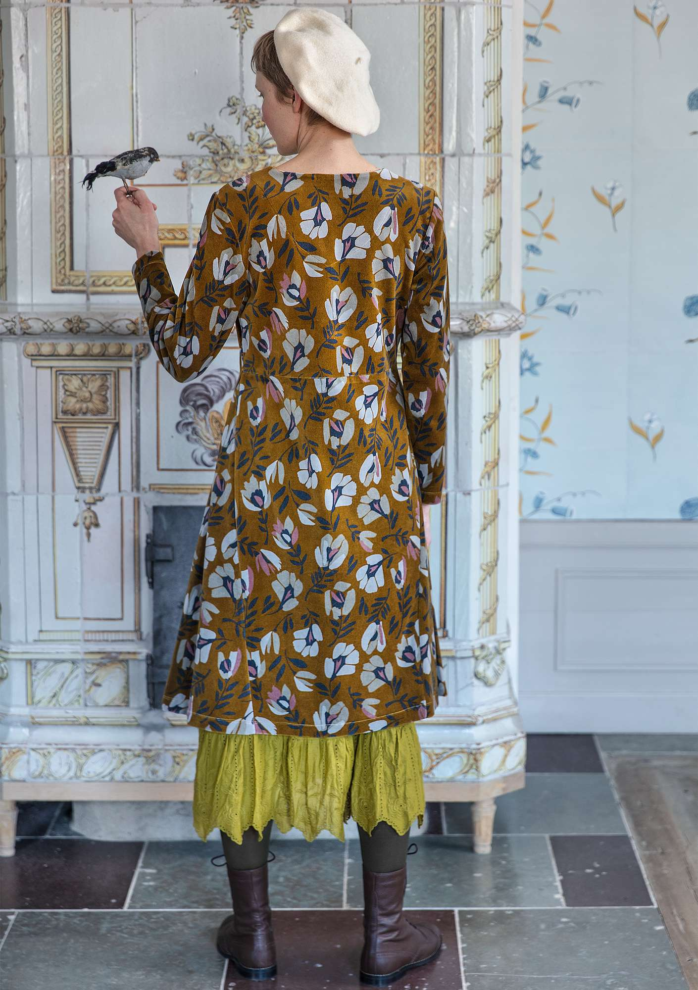 """Vurma"" velour dress in organic cotton/polyester ochre/patterned"