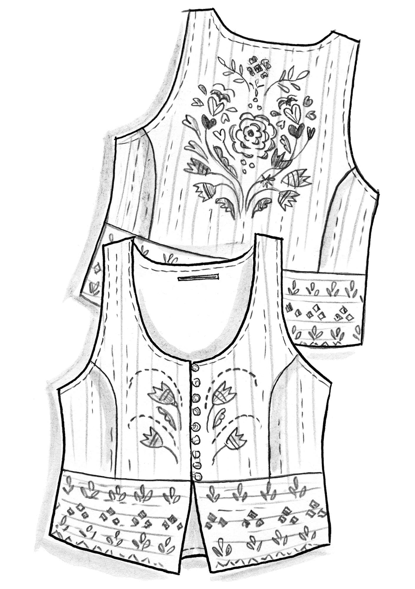 """Småland"" waistcoat in organic cotton putty"