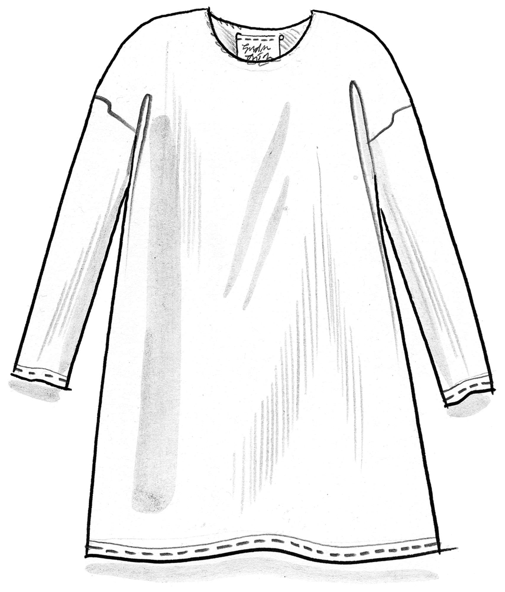 Organic linen tunic embellished with embroidery