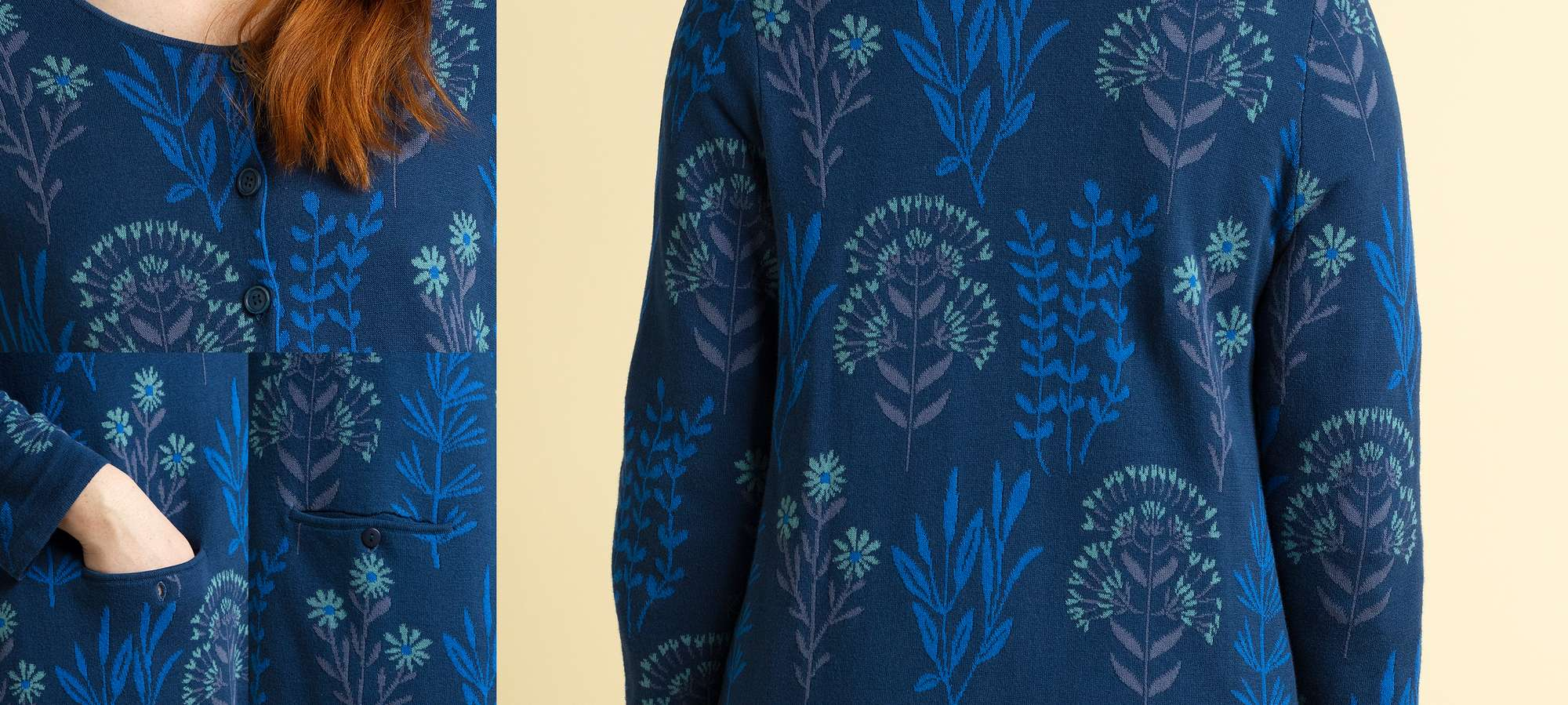 """Botanik"" cardigan in organic cotton indigo blue"