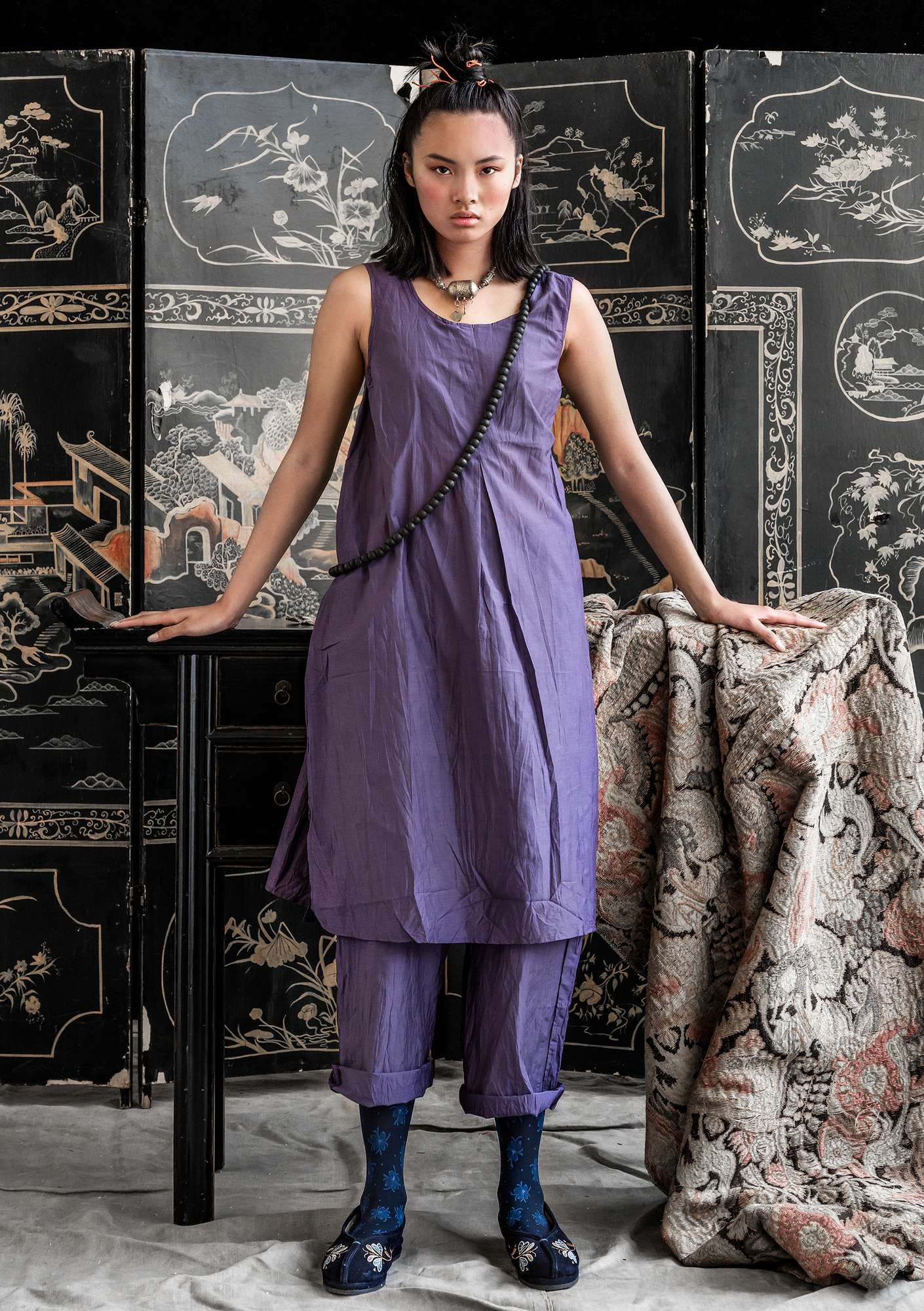 Cotton/silk dress dusky purple
