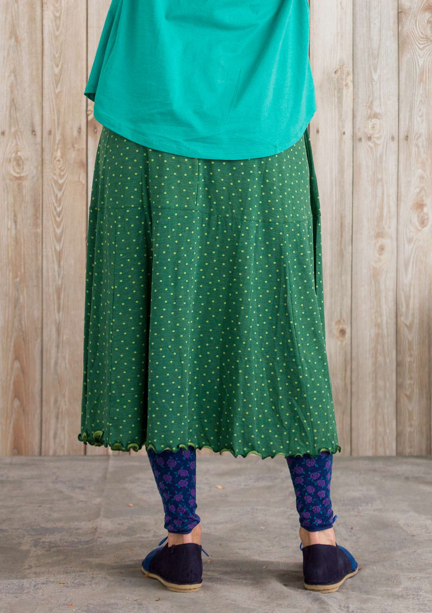 """Pytte"" skirt in lyocell/spandex opal green/patterned"